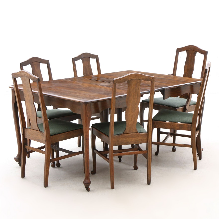 Excellent Queen Anne Style Walnut Dining Table And Chairs Early 20Th Century Download Free Architecture Designs Scobabritishbridgeorg