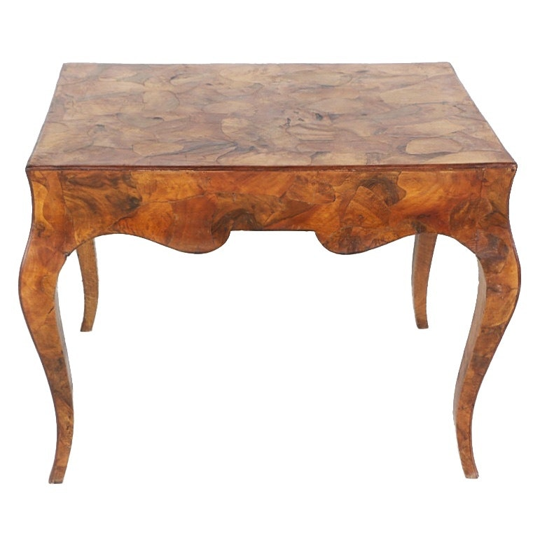Italian Walnut Oyster Burl and Beech Side Table, Late 20th Century