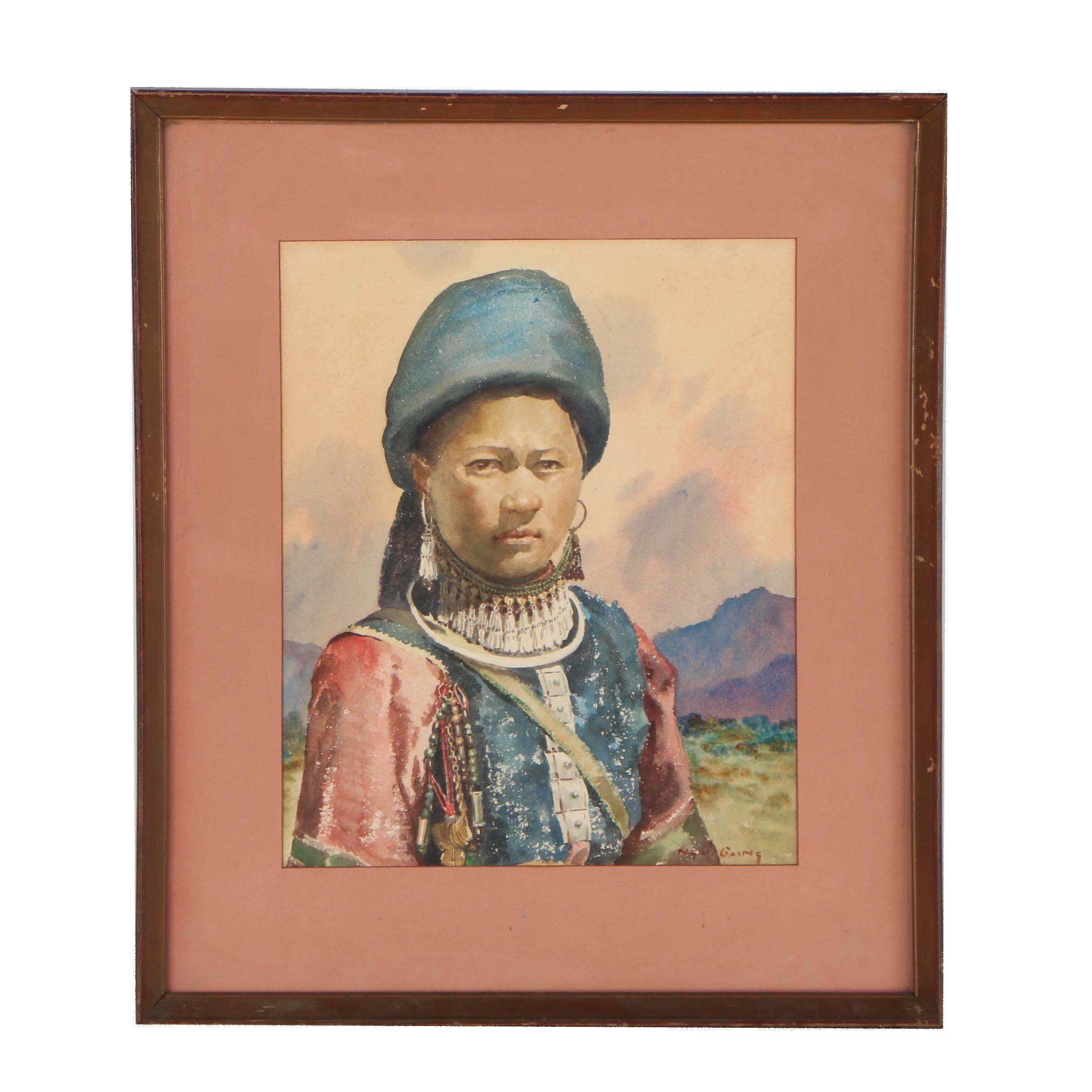 Ngwe Gaing Watercolor Portrait of Burmese Girl