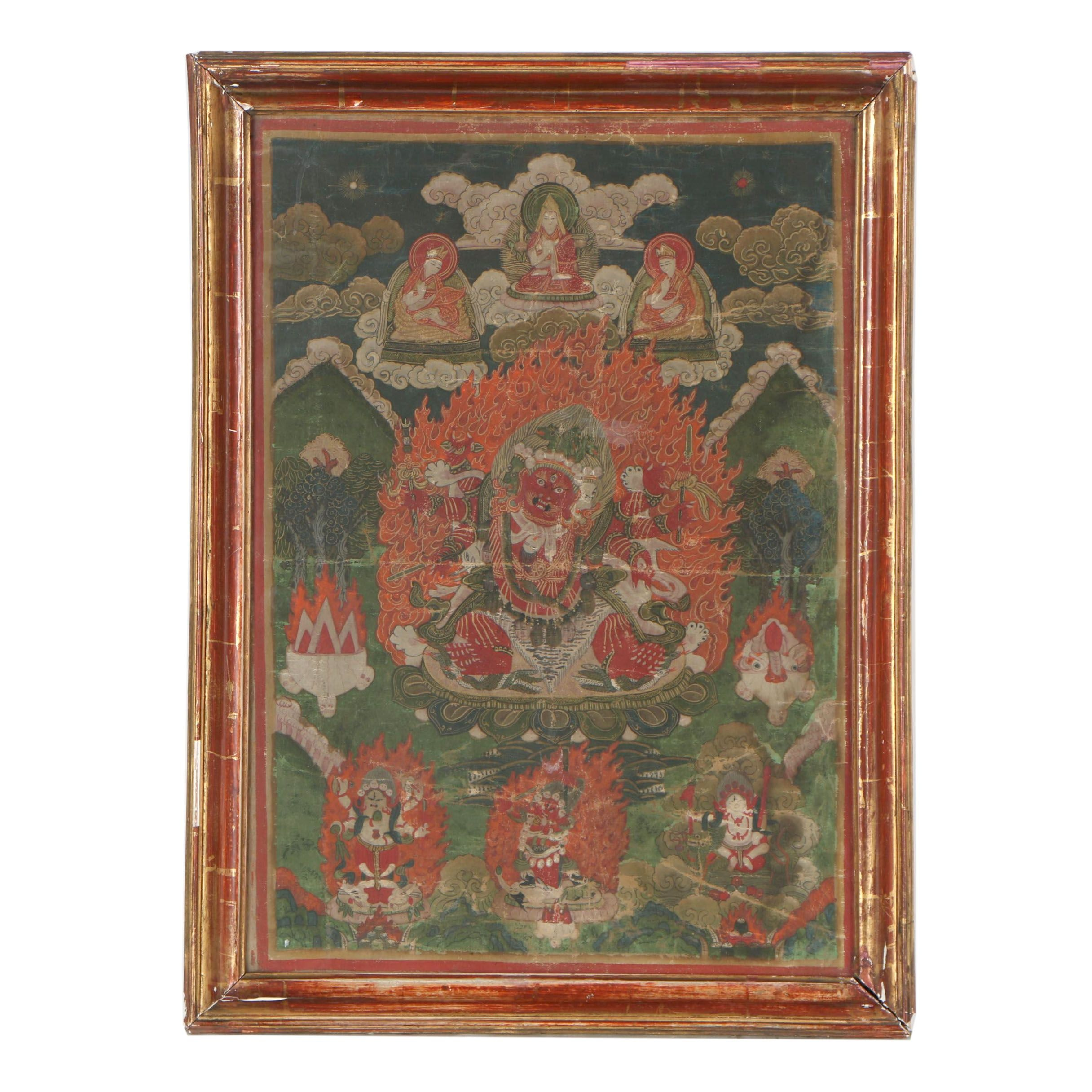 Tibetan Hayagriva Gouache Thangka on Cloth