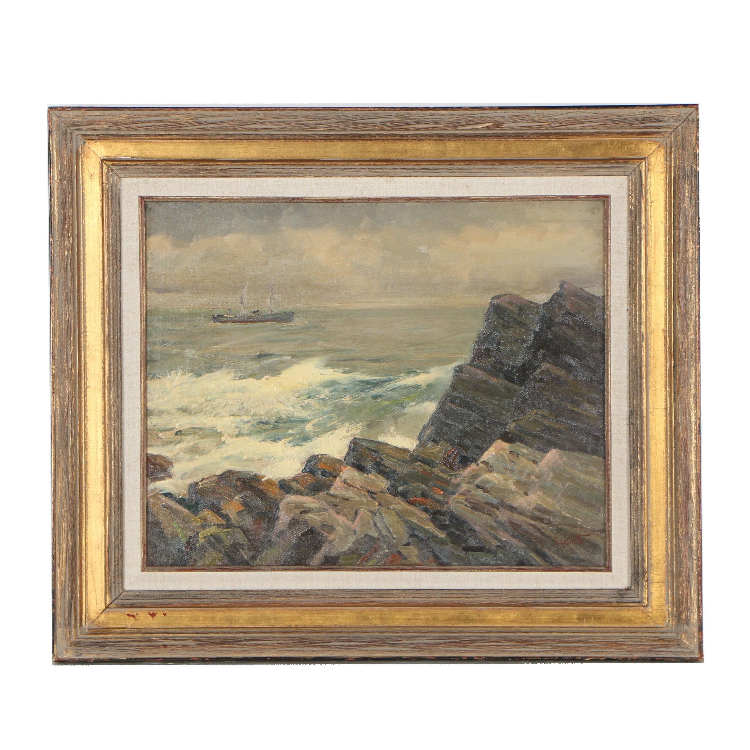 Gustave Cimiotti, Jr. Mid 20th Century Oil Painting of Seascape