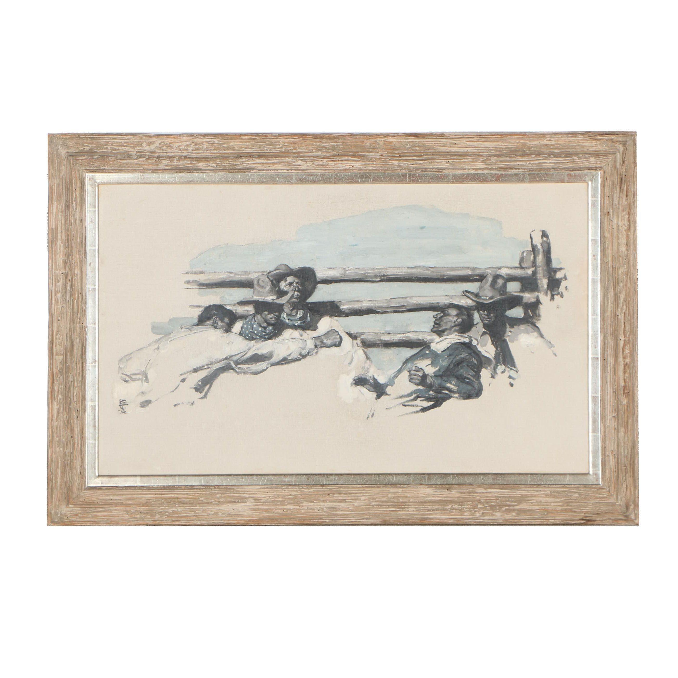 Saul Tepper Western Scene Oil Illustration, 1932
