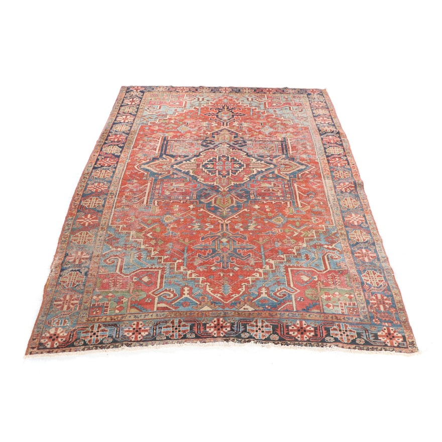 Hand Knotted Persian Wool Area Rug Ebth: Hand-Knotted Persian Heriz Wool Area Rug : EBTH