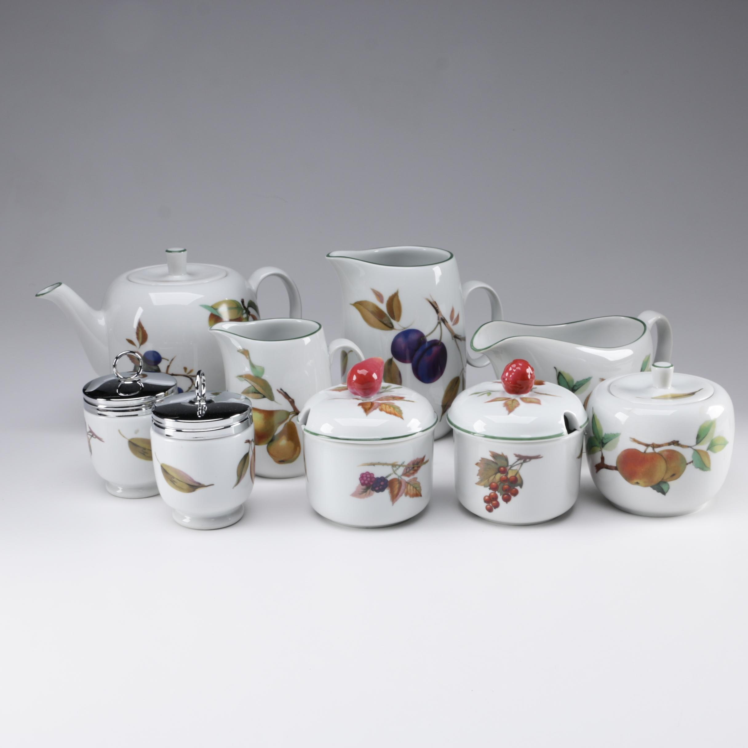 "Royal Worcester ""Evesham Vale"" Porcelain Tea Service and Tableware, 1986"
