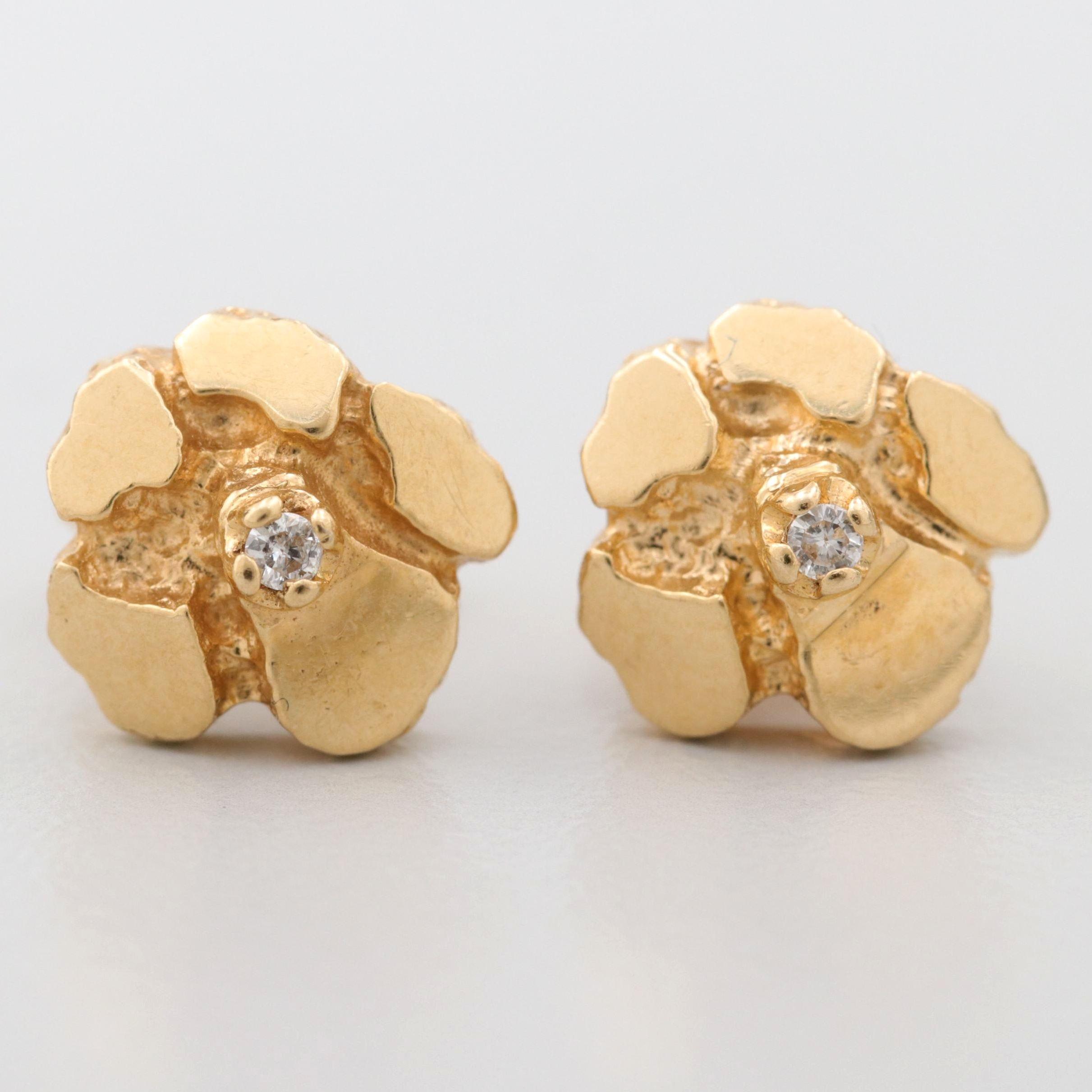 18K Yellow Gold Nugget Diamond Stud Earrings