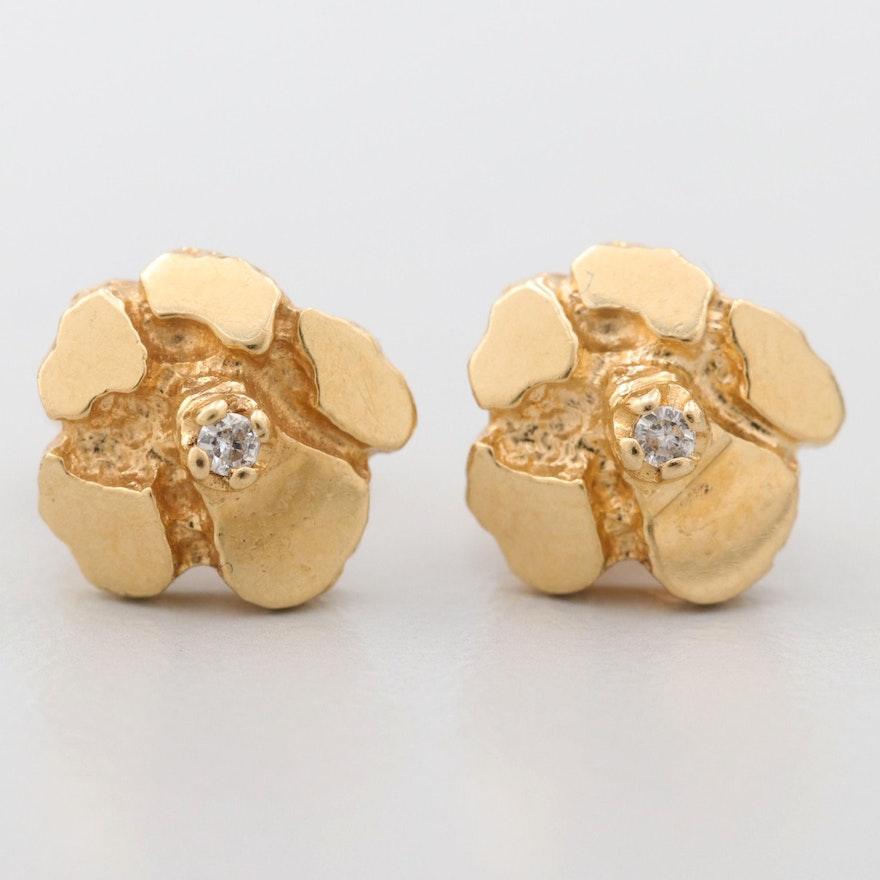 5958ecd45 18K Yellow Gold Nugget Diamond Stud Earrings   EBTH