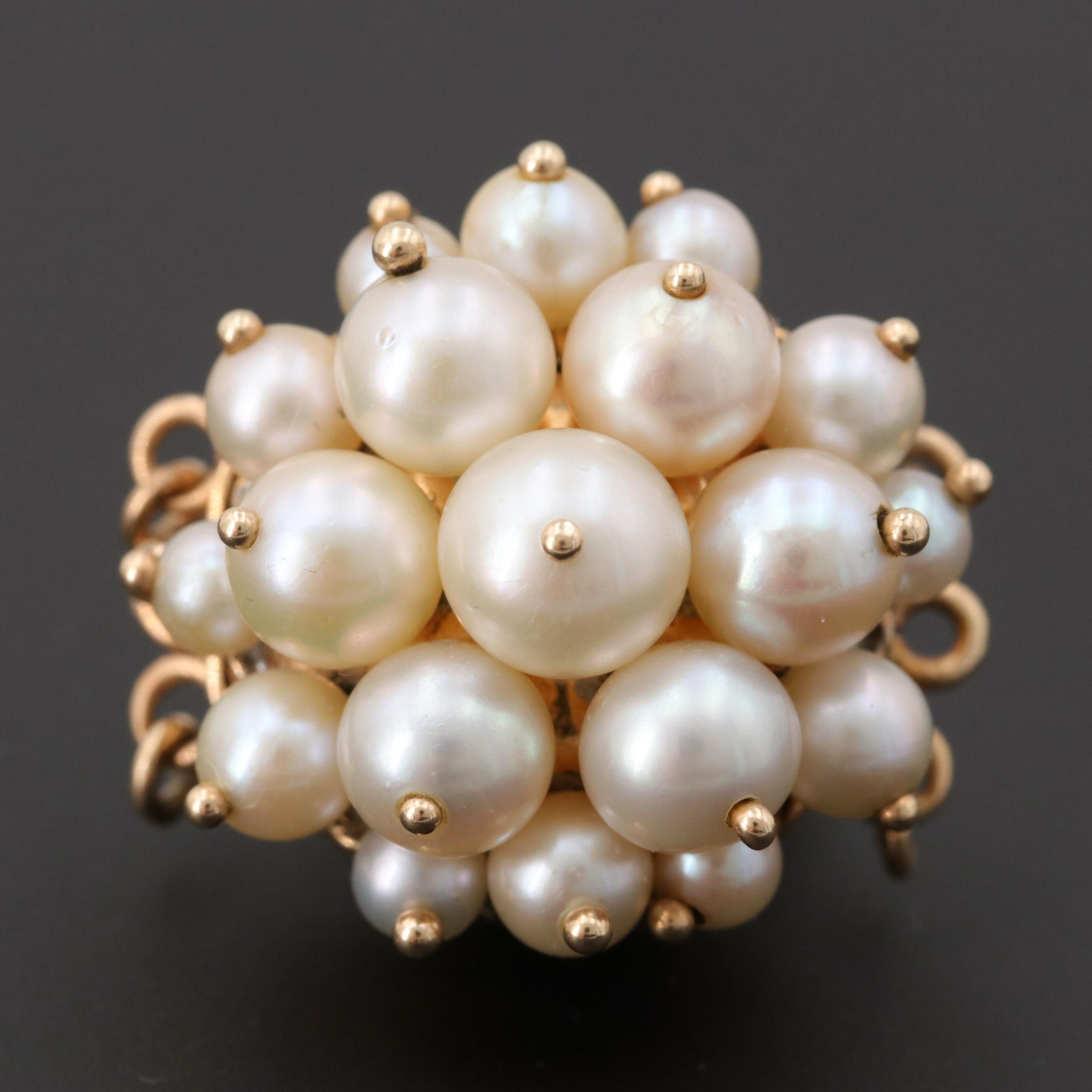 Vintage 14K Yellow Gold Cultured Pearl Triple-Strand Jewelry Clasp
