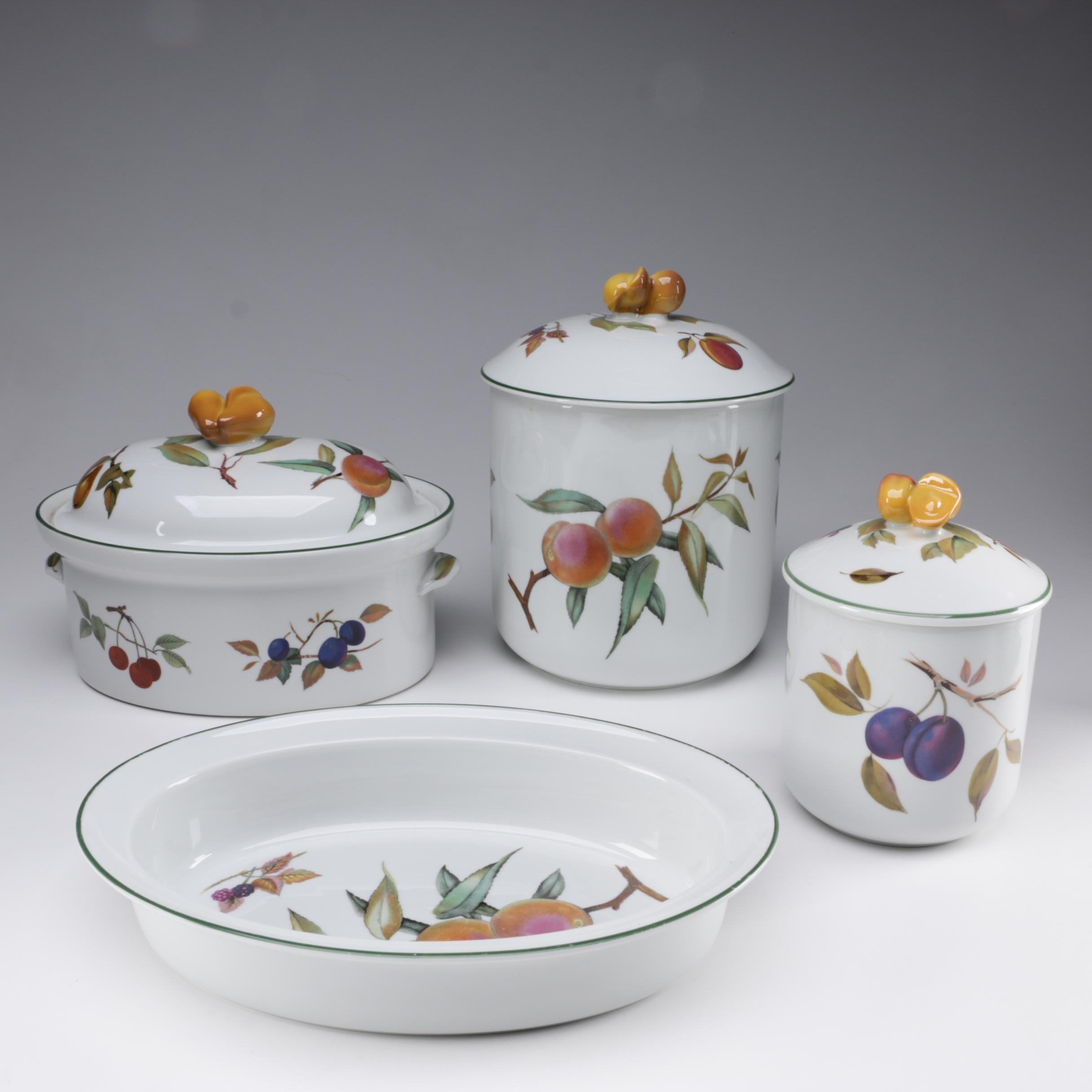 "Royal Worcester ""Evesham Vale"" Porcelain Bakeware and Canisters, 1986"