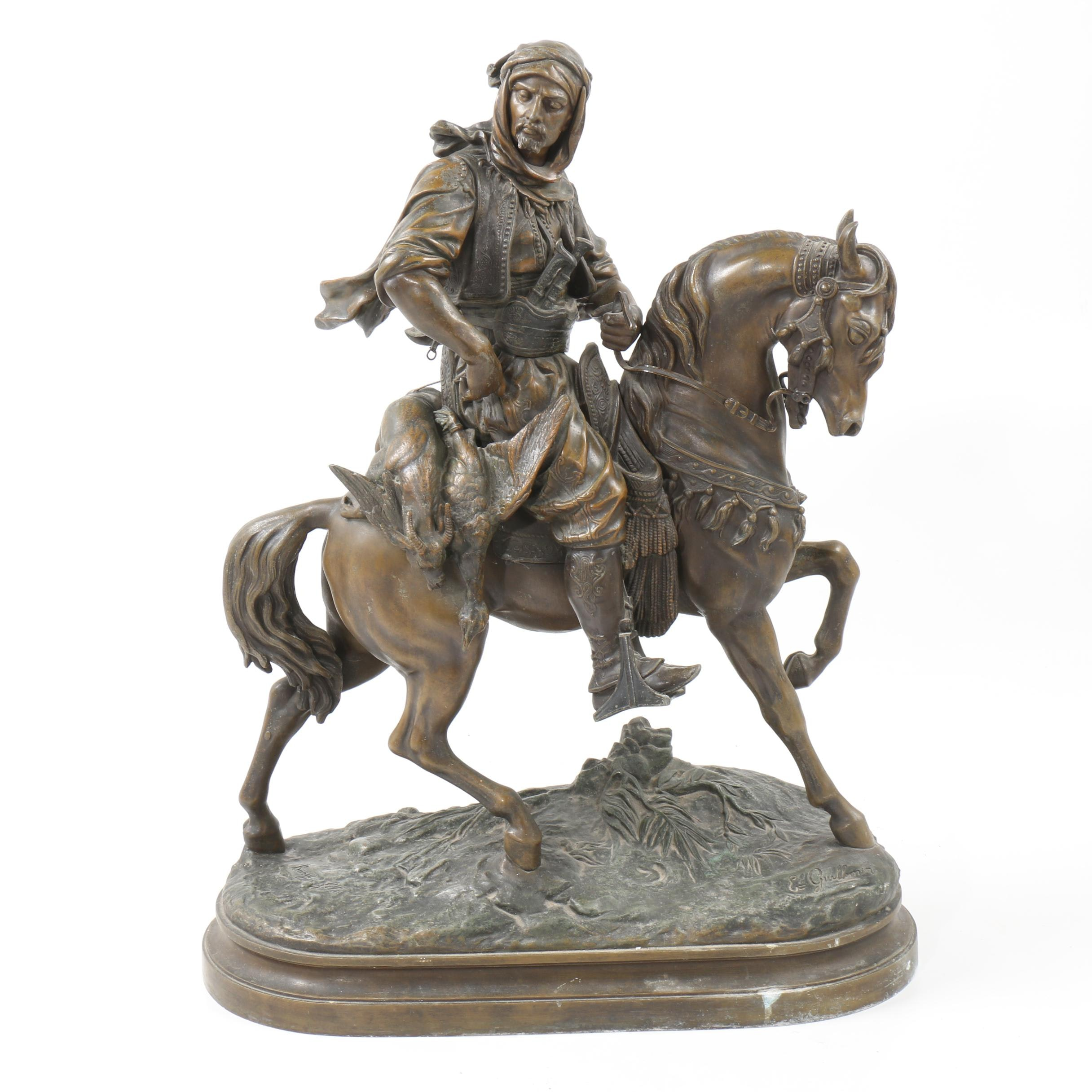 """Spelter Sculpture after Émile Guillemin and Alfred Barye """"Chevalier Arabe"""""""
