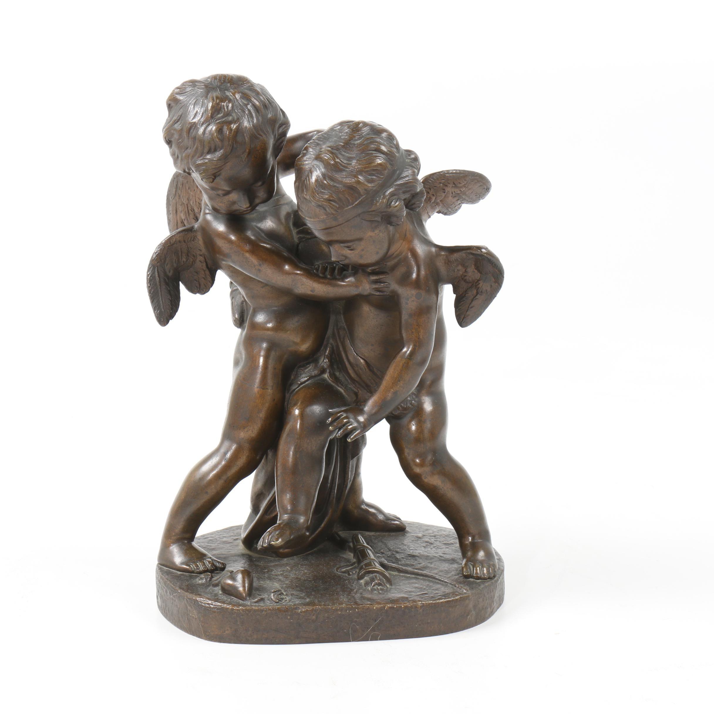 "Bronze Sculpture after Etienne-Maurice Falconet ""Cupids Wrestling Over a Heart"""