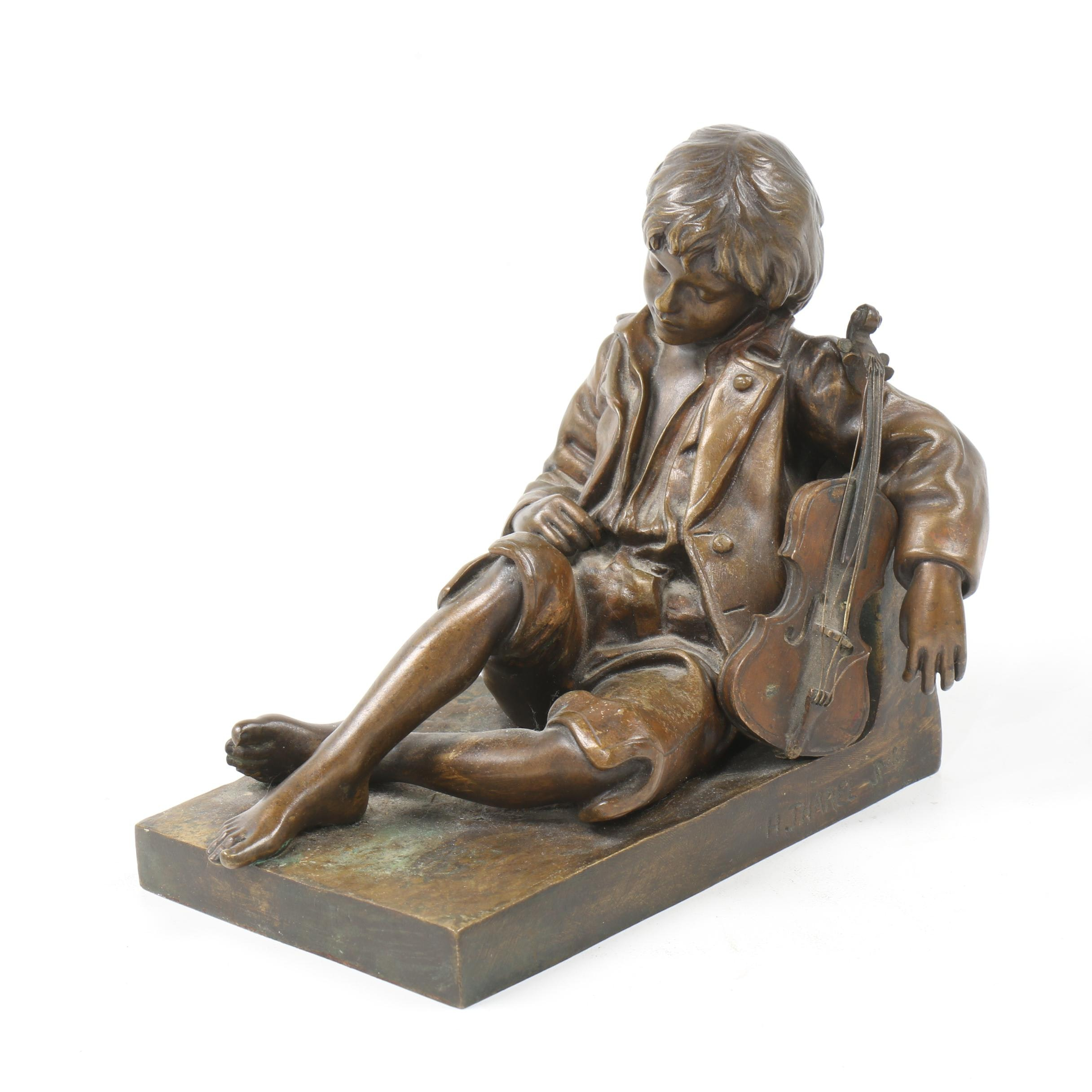 "Bronze Sculpture after Léon Tharel ""Idle Fiddle"""
