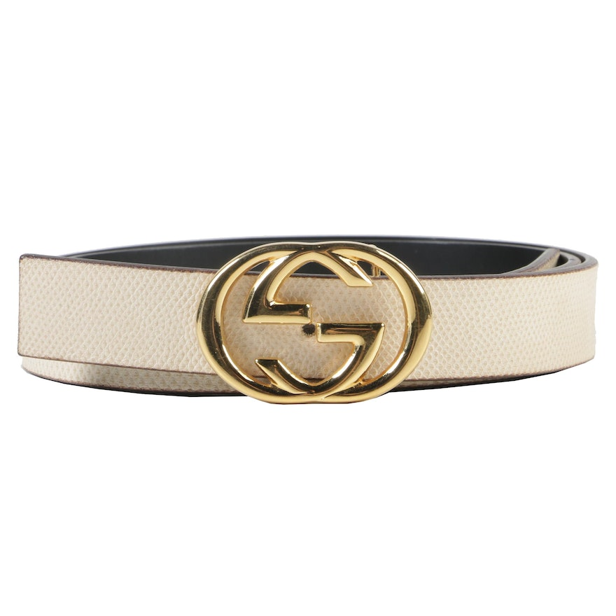 f1fd23469d6 Gucci Lizard Embossed Cream Leather Belt with Gold Tone Interlocking GG  Buckle   EBTH