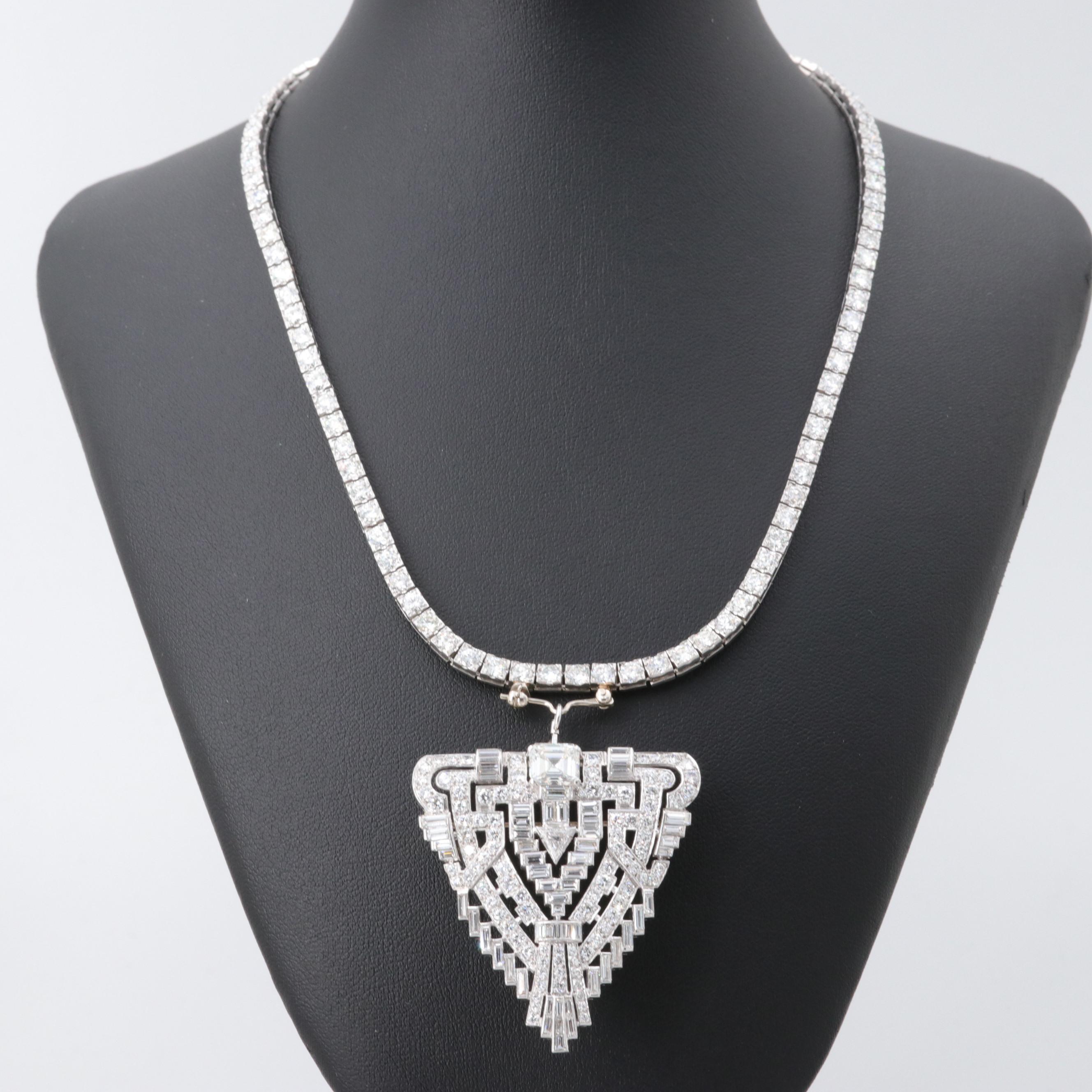 Art Deco Platinum 7.94 CTW Diamond Pendant on 8.60 CTW Diamond Tennis Necklace