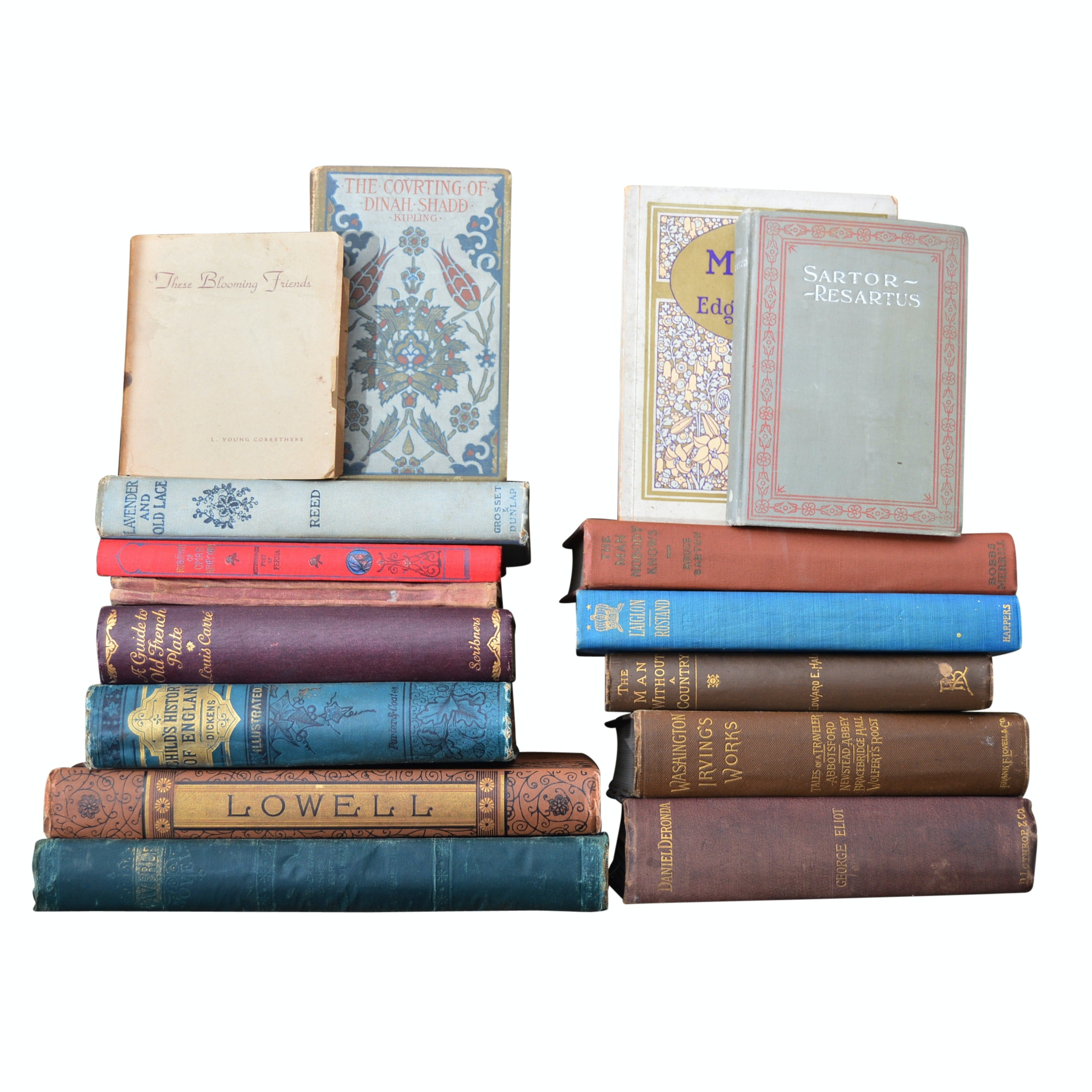 19th and Early 20th Century Books with Irving, Lowell and Eliot