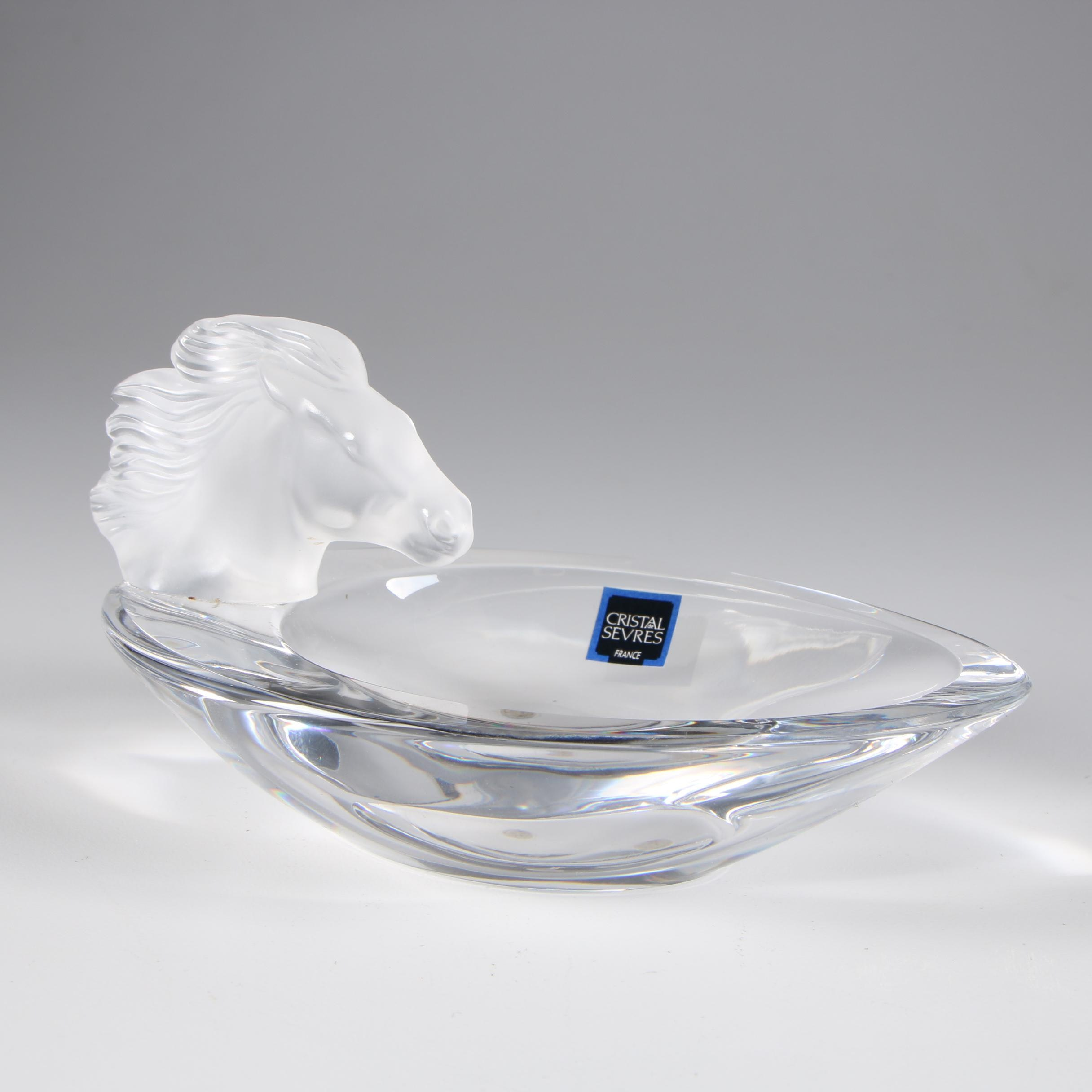Cristal de Sèvres Art Glass Dish with Frosted Crystal Horse Head