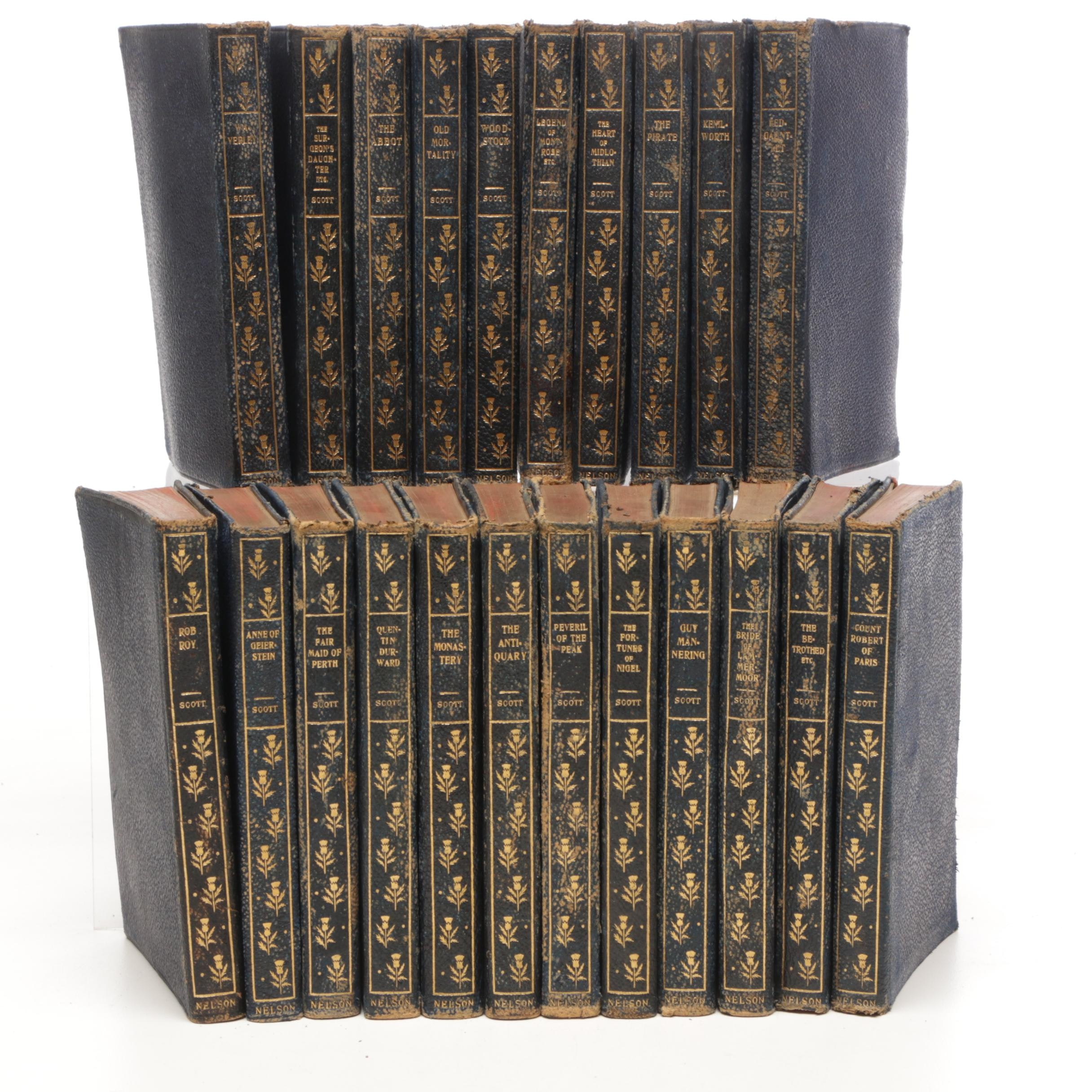 "Antique Leather Bound ""The Works of Sir Walter Scott"""