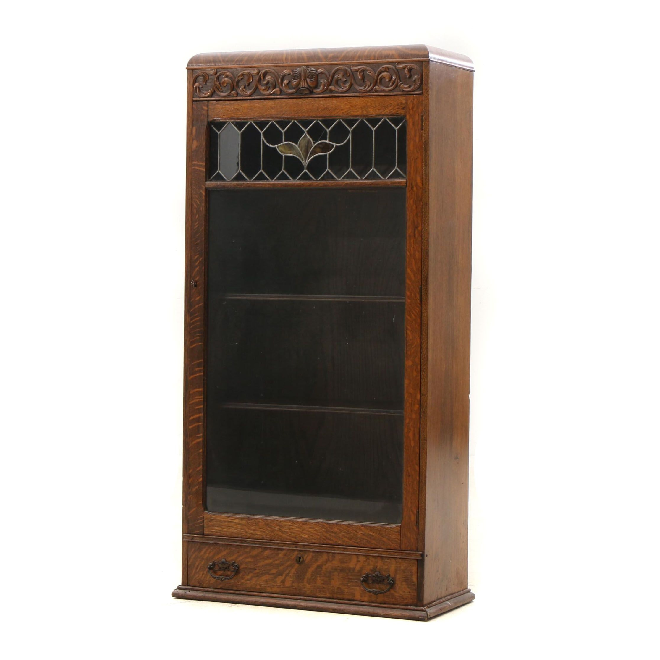 Late Victorian Oak Glass Front Display Cabinet, Circa 1920