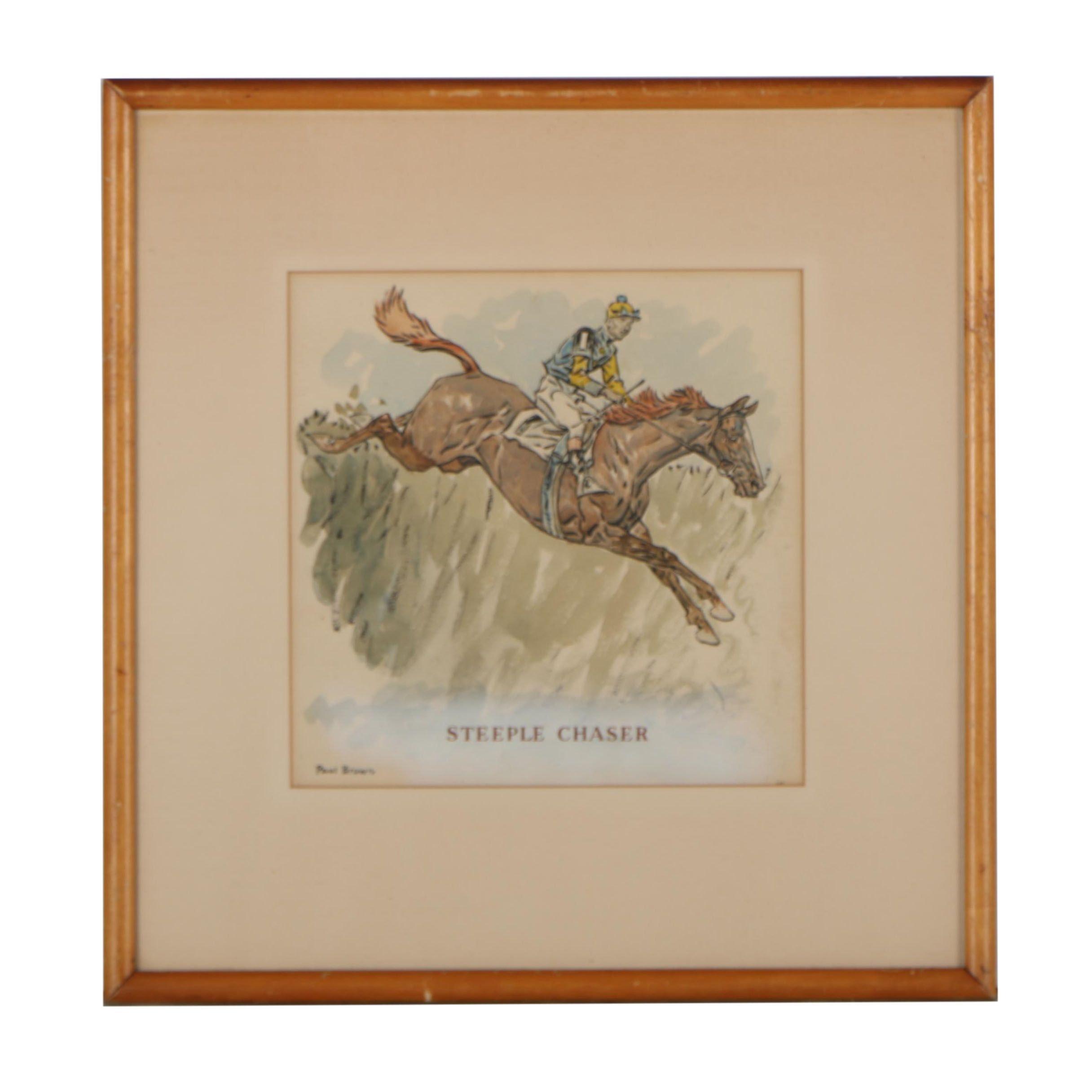 "Paul Brown Watercolor Painting ""Steeple Chaser"""