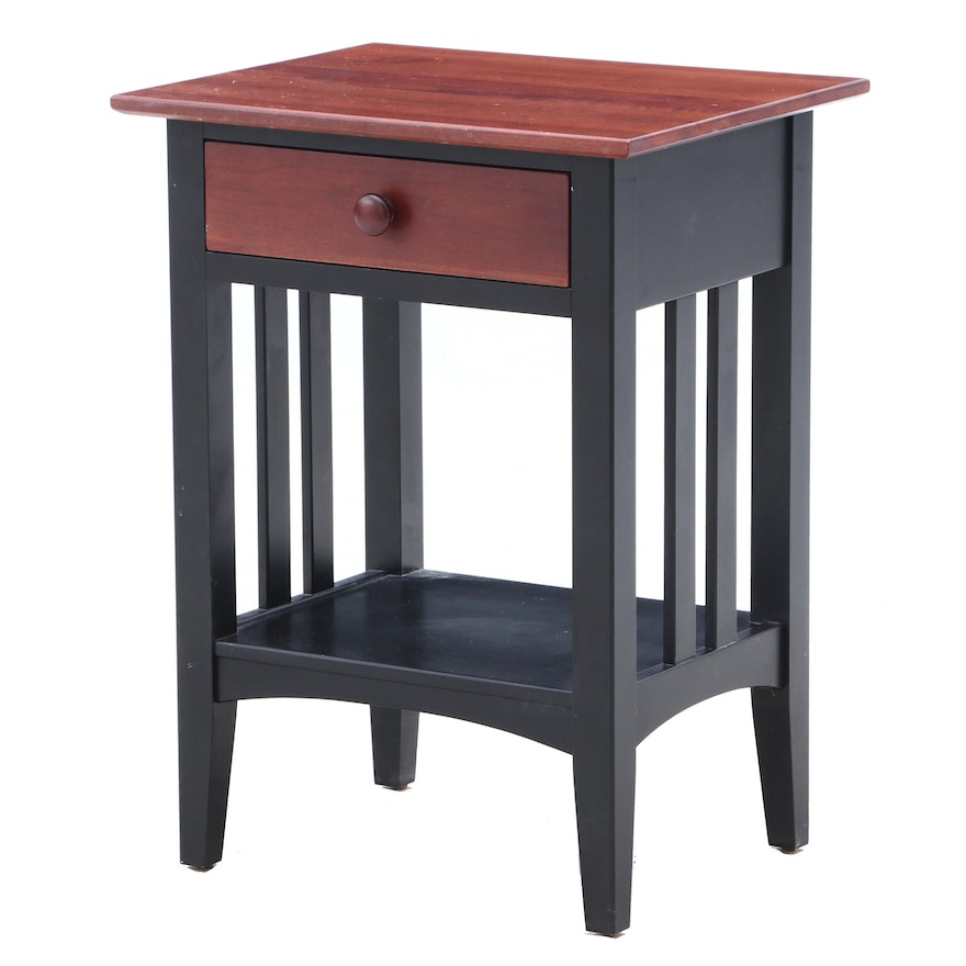 Mission Style Ethan Allen Painted Cherry Accent Table In Green