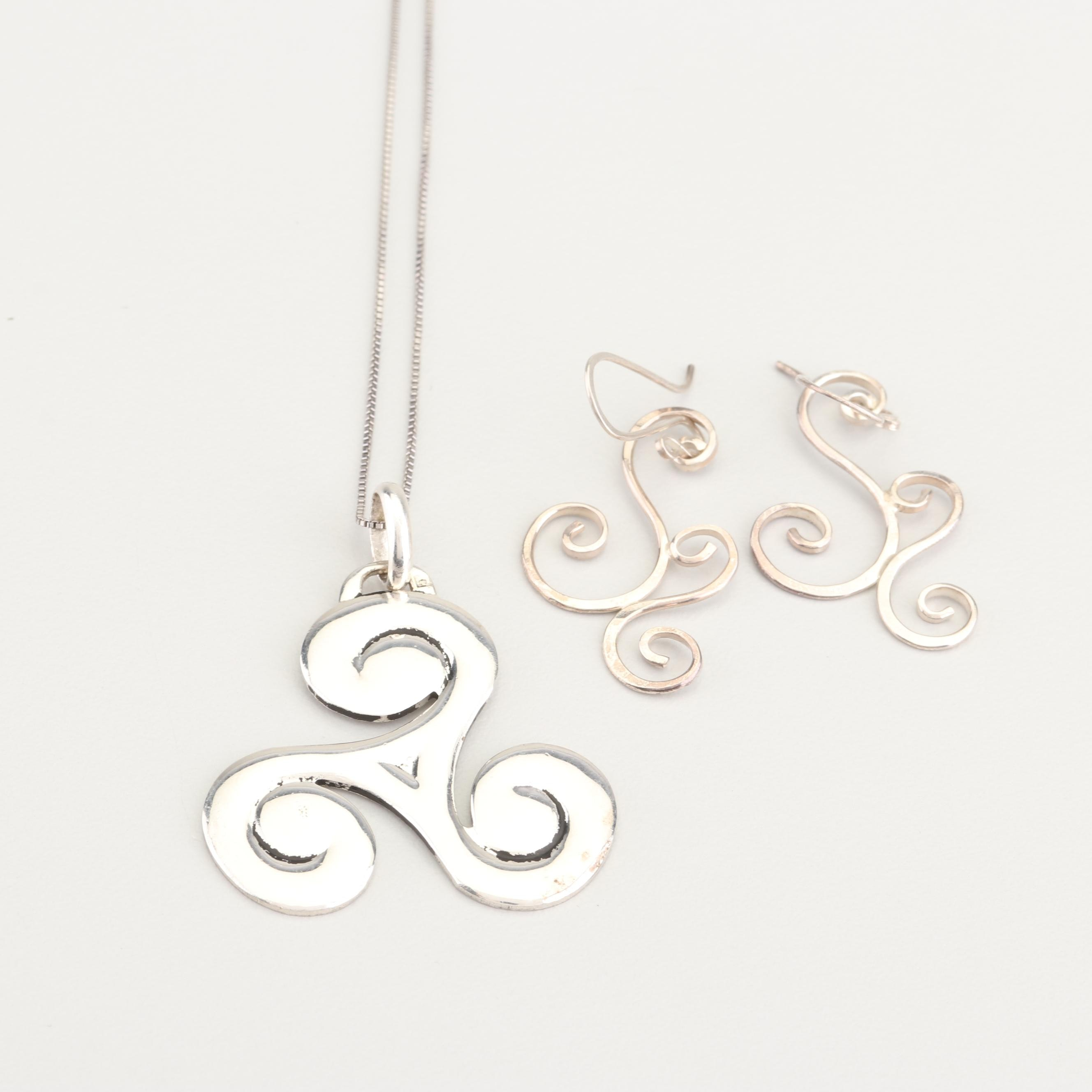Sterling Silver Earrings and Sterling Silver Chain with Silver Tone Pendant