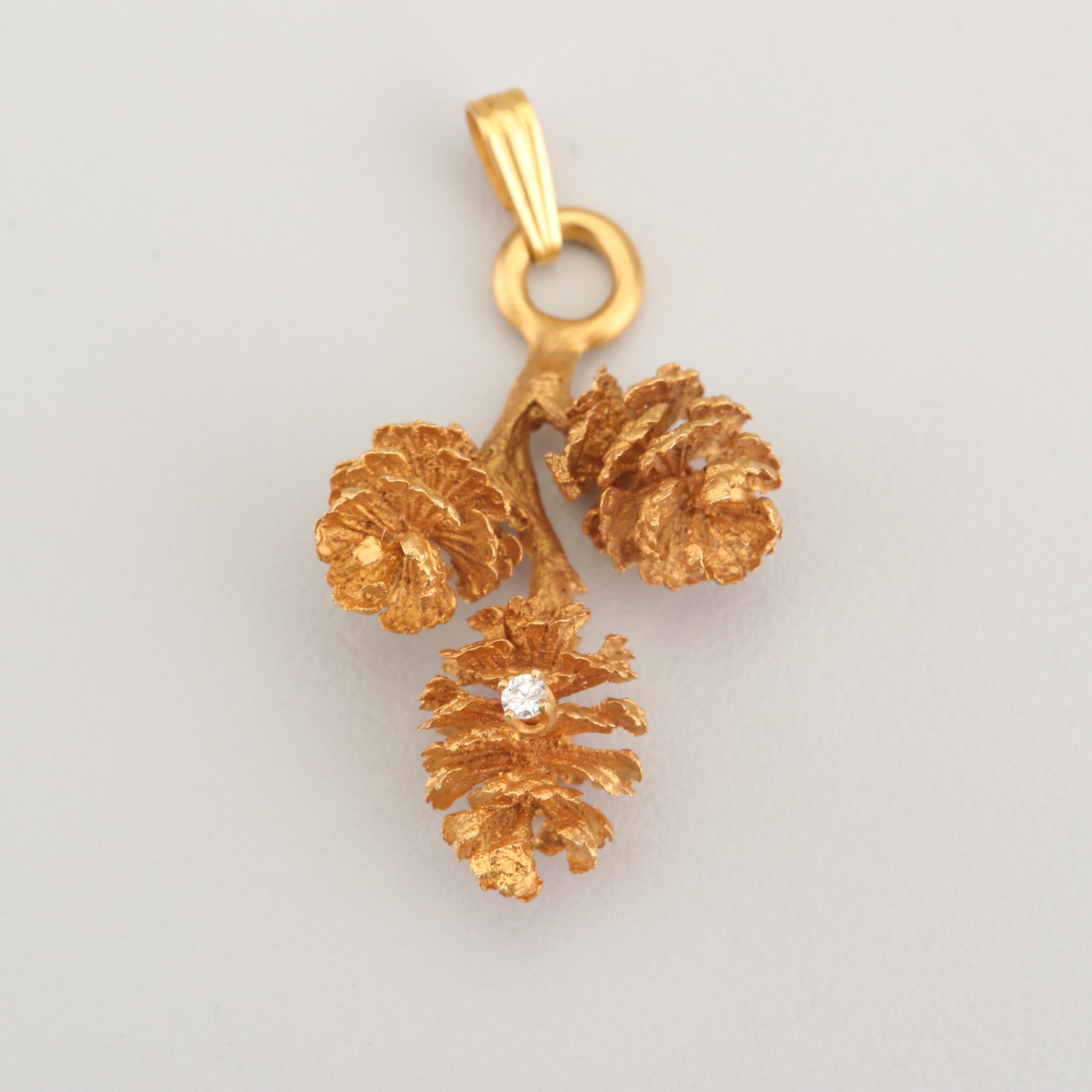 14K Yellow Gold and Diamond Pine Cone Pendant