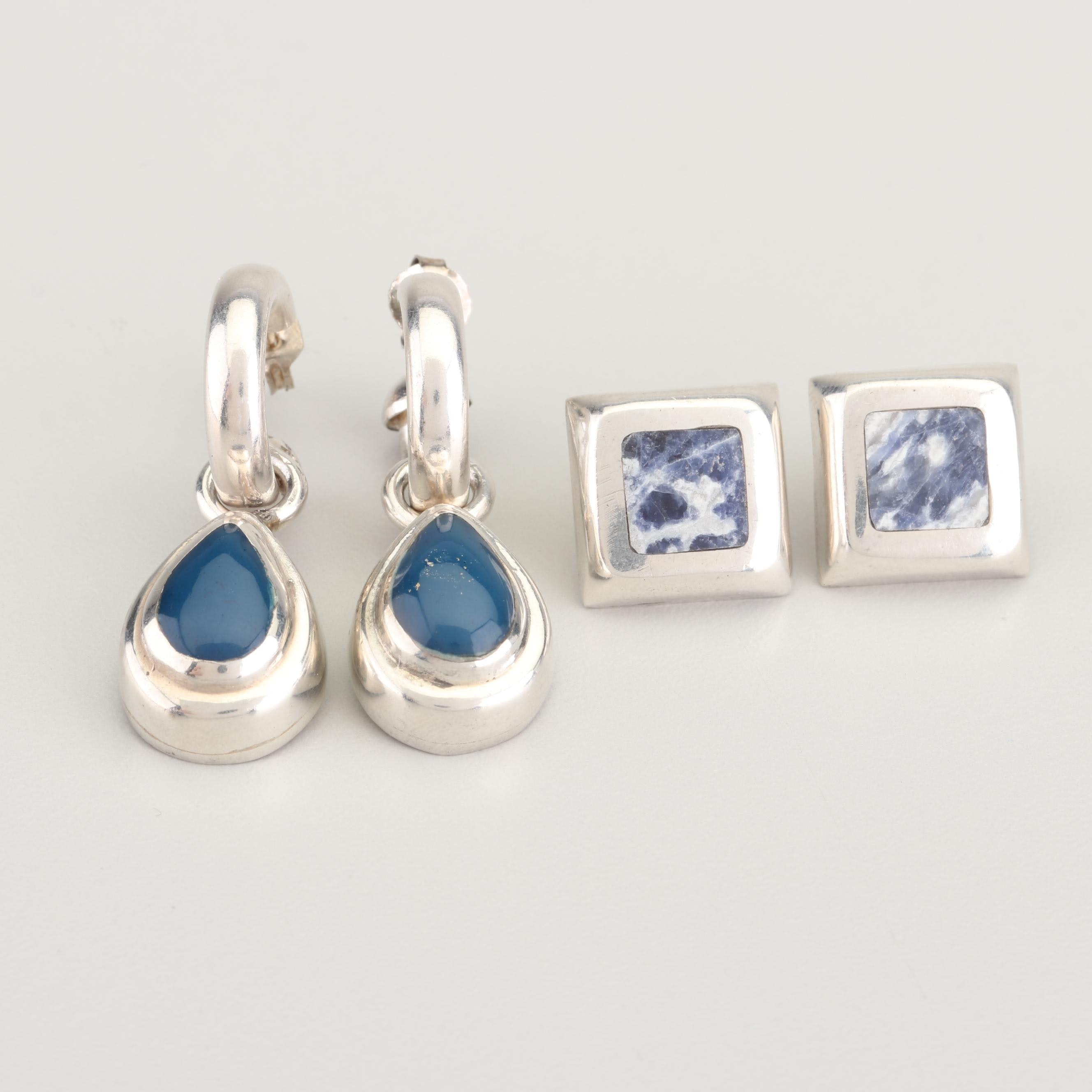 Sterling Silver Chalcedony and Sodalite Earrings