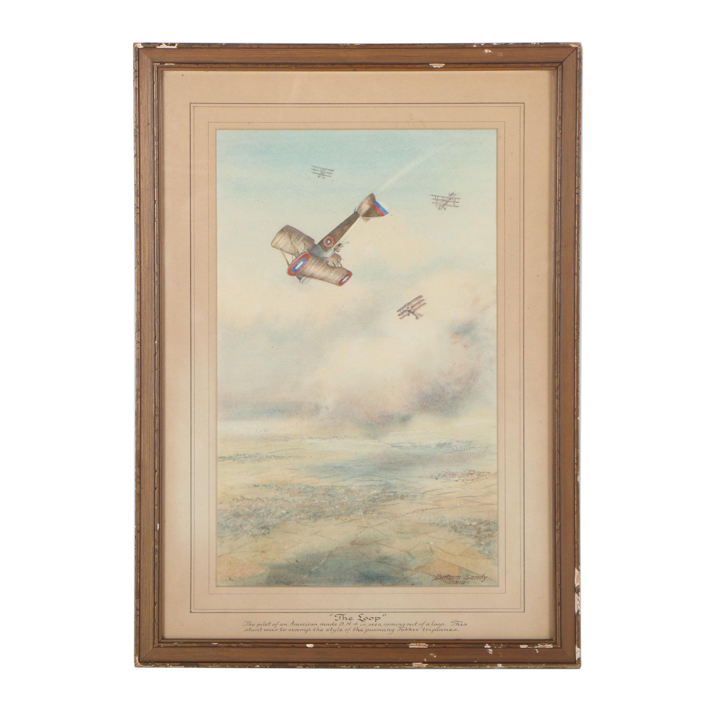 "Bertram Sandy 1919 Watercolor Painting ""The Loop"""