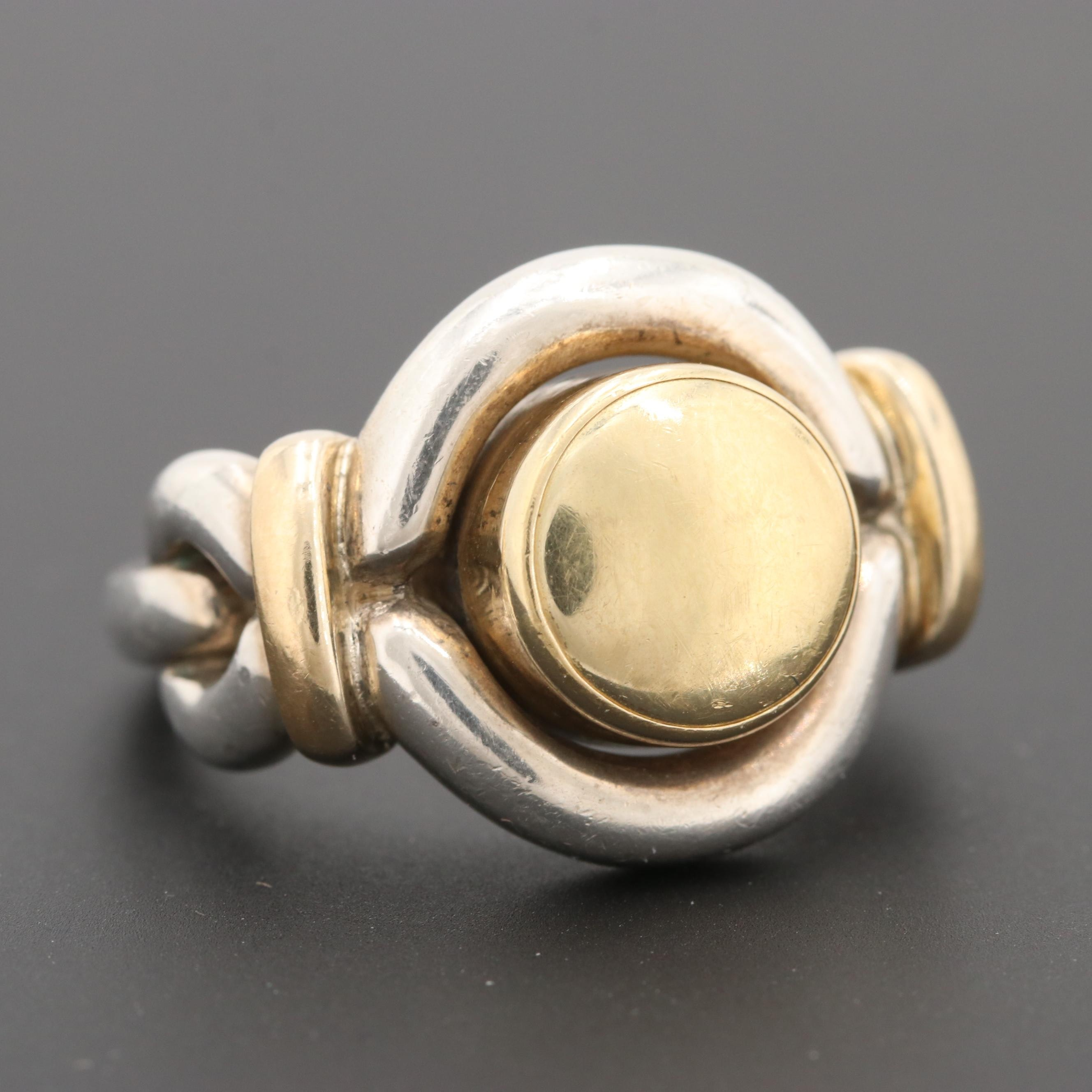 Christofle Sterling Silver and 18K Yellow Gold Ring