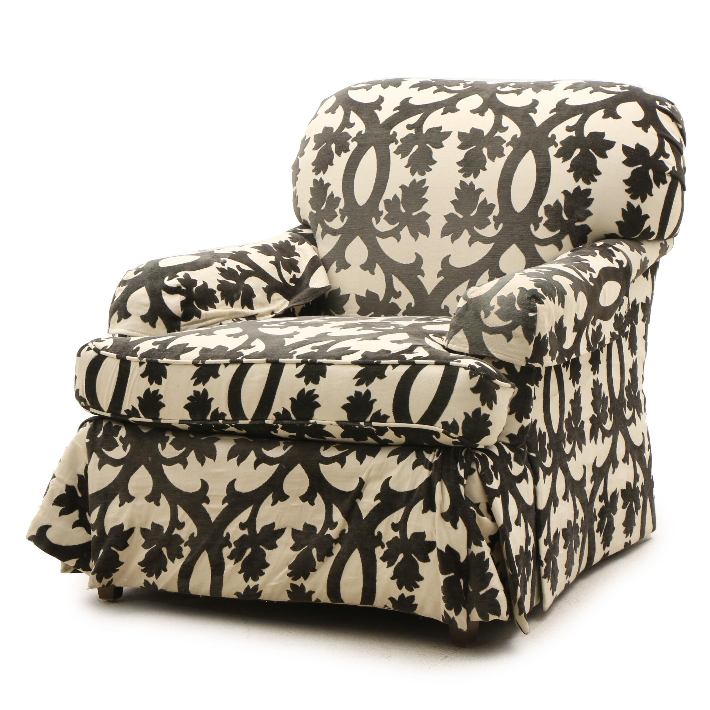 Damask Style Upholstered Oversize Skirted Arm Chair by Baker Furniture