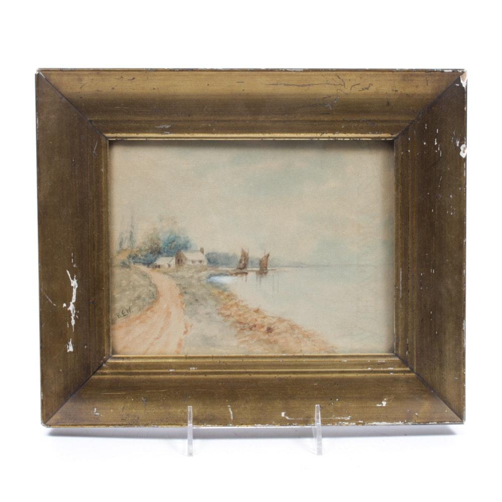 R. E. W. Landscape Watercolor Painting