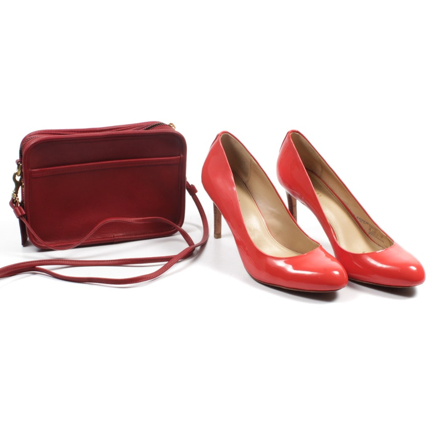 d3d1af433b8 Coach Patent Leather Pumps and Coach Carnival Red Leather Crossbody Purse