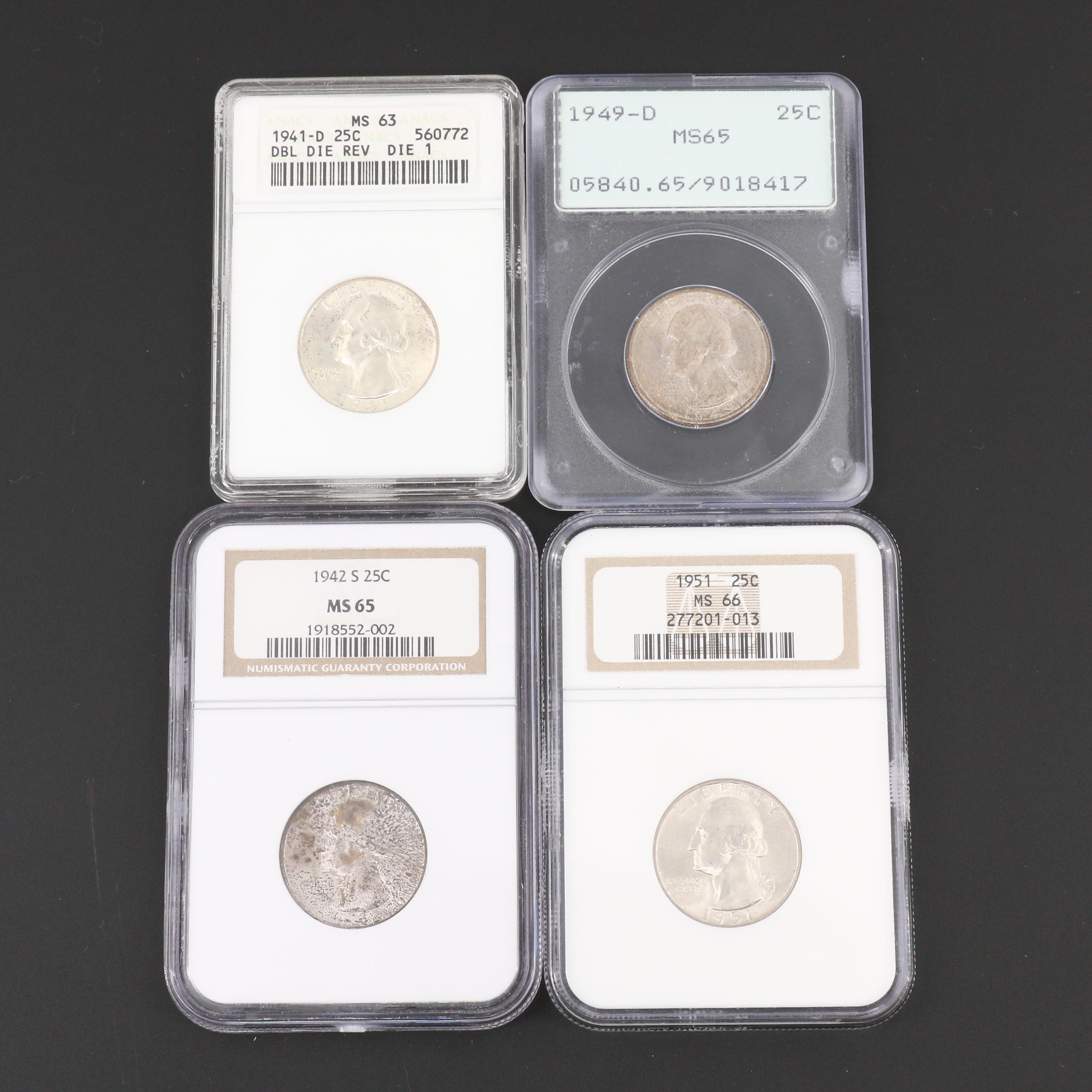 Group of Four Graded George Washington Silver Quarters