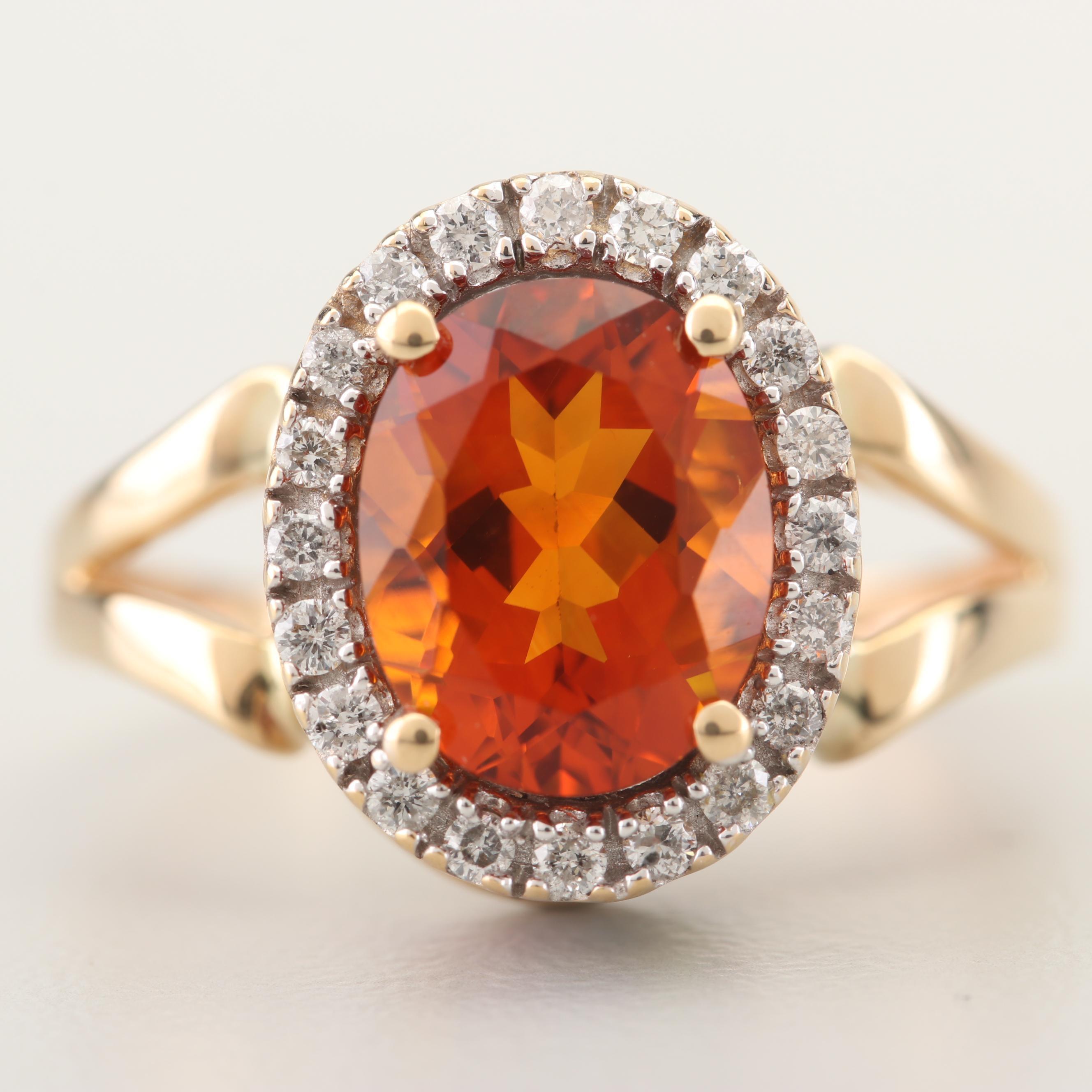 14K Yellow Gold Citrine, Diamond, and Gemstone Ring