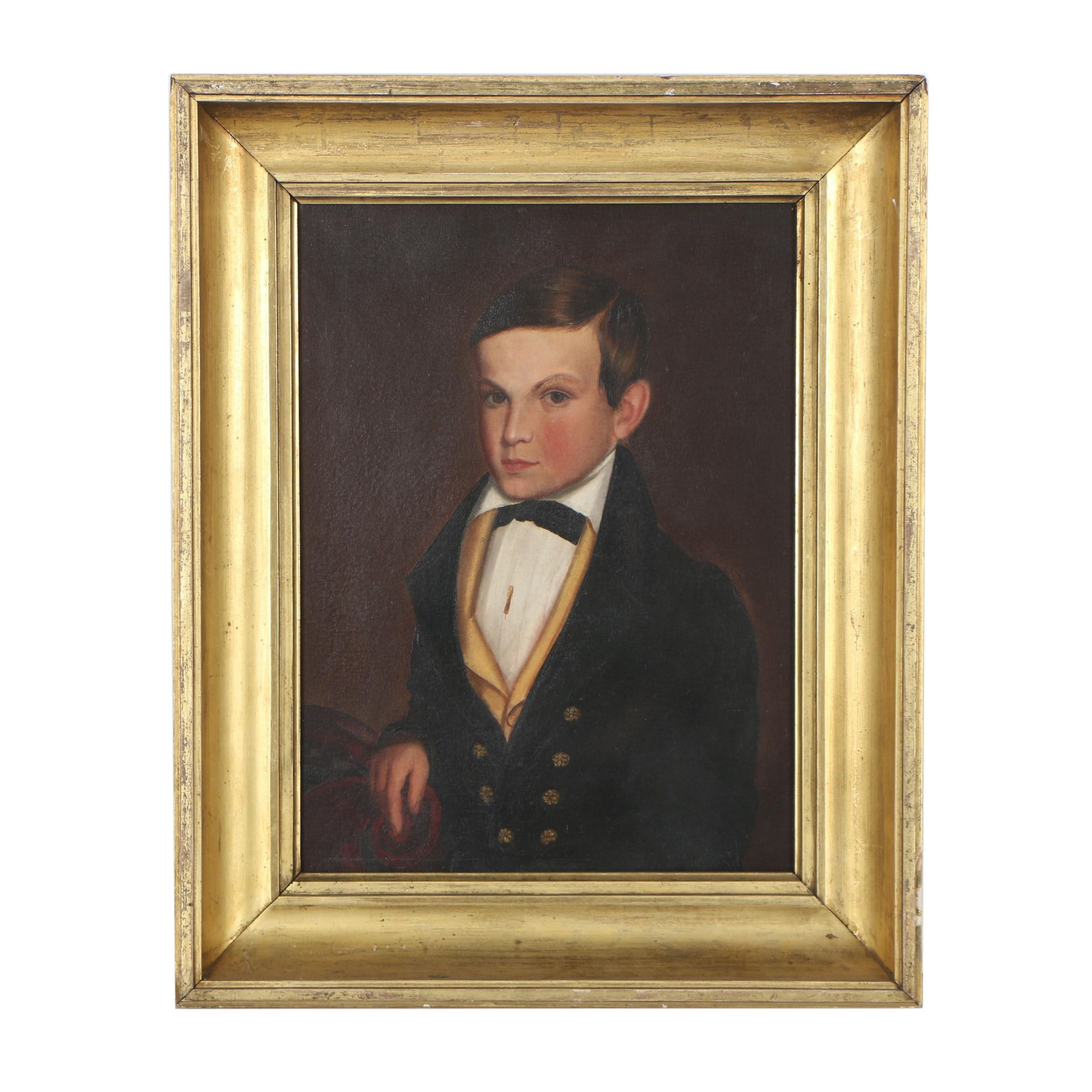 Early American Folk Art Portrait Oil Painting