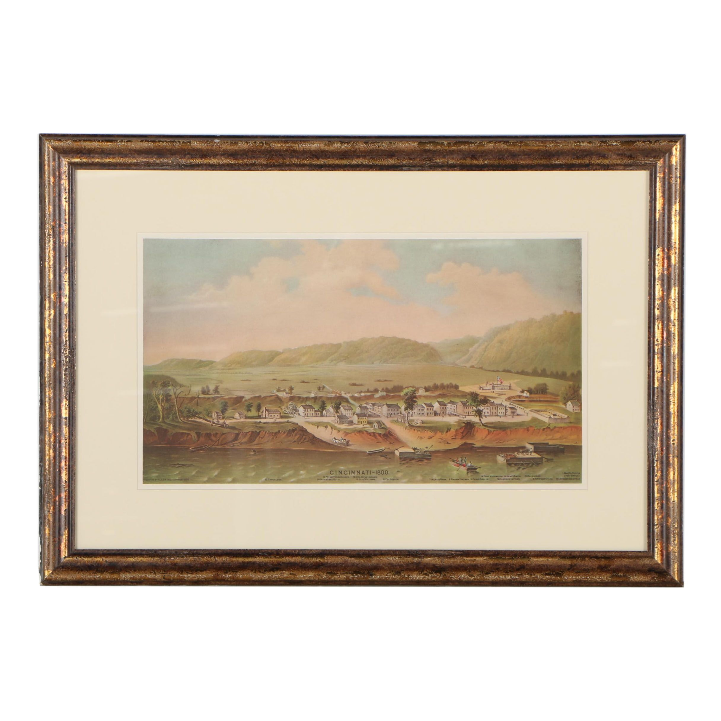 """Offset Lithograph after A. J. Swing and Strobridge Lith. Co. """"Cincinnati - 1800"""""""