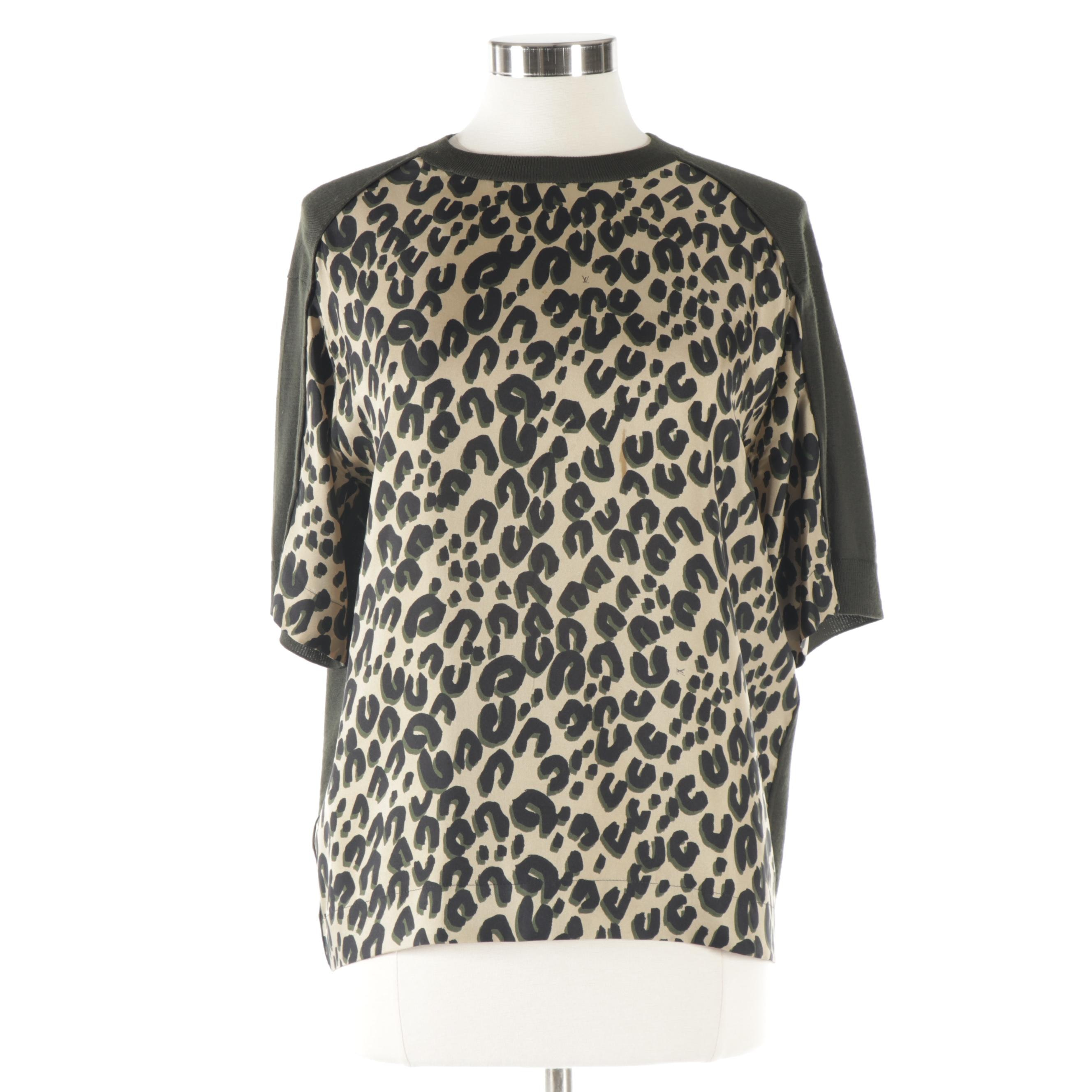 Louis Vuitton Paris Merino Wool and Silk Cheetah Print Shirt, Made in Italy