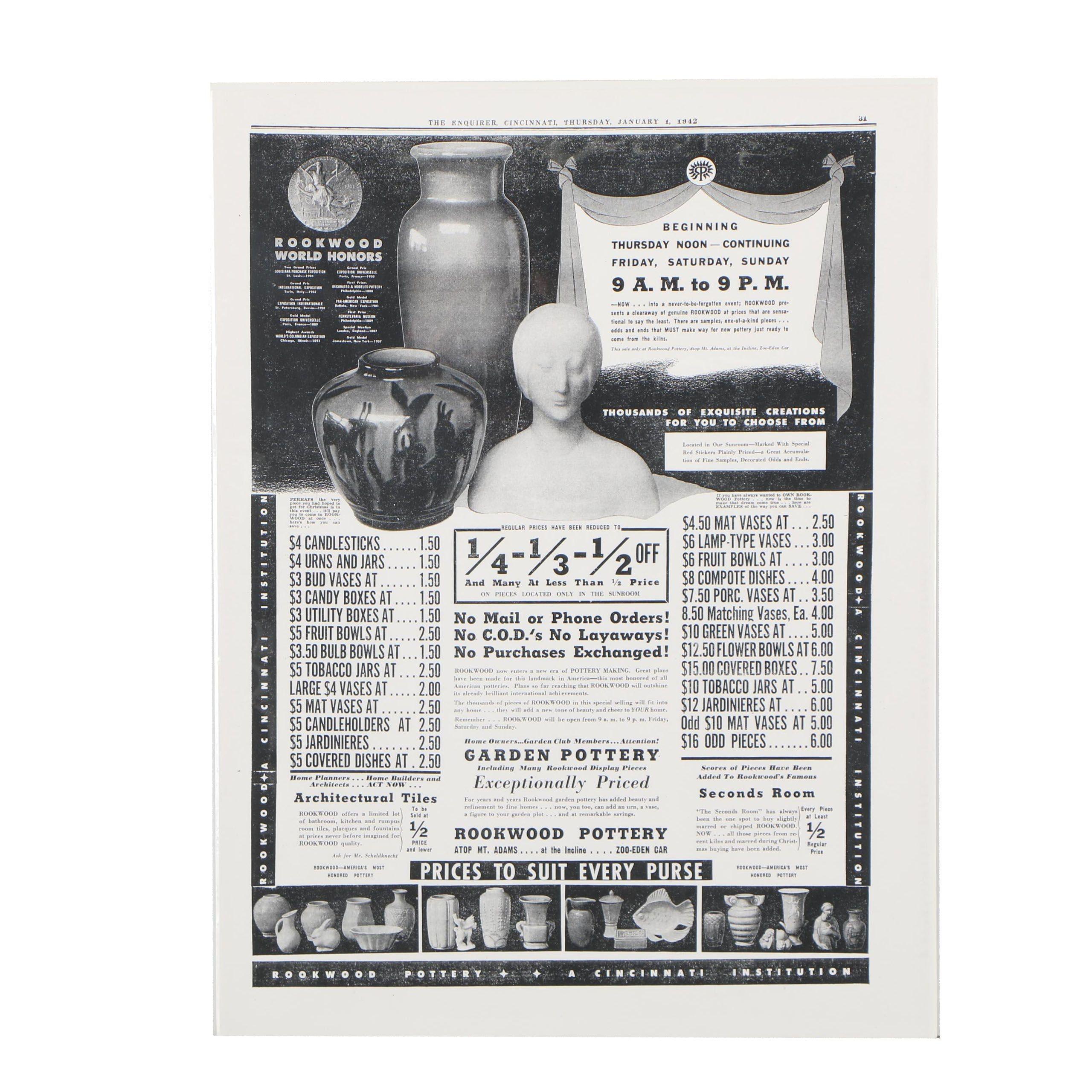 Giclée after Vintage Rookwood Pottery Advertisement