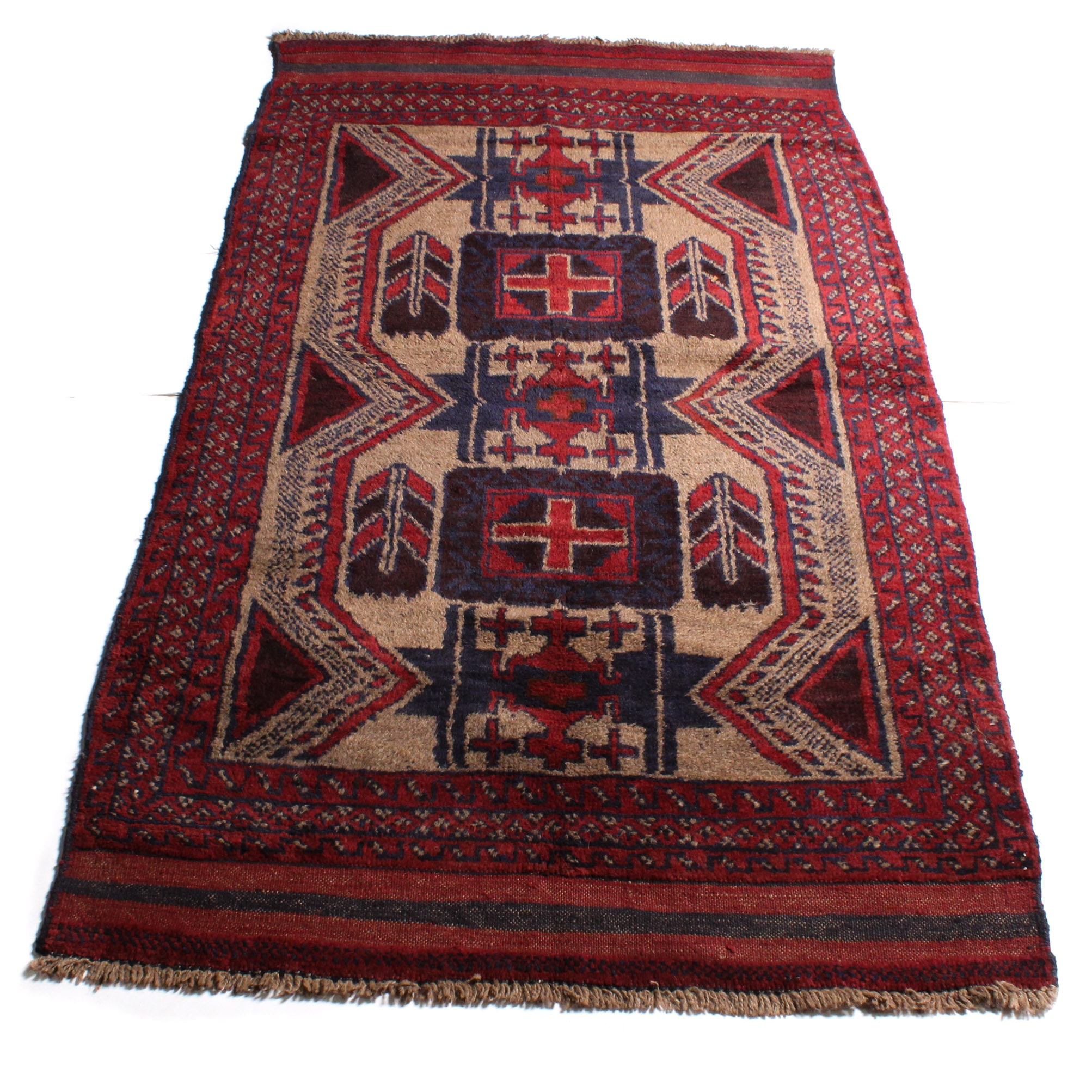 3'6 x 6'4 Hand-Knotted Afghan Baluch Rug