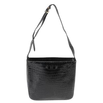 f2ee5b5fba1a Salvatore Ferragamo Croc Embossed Black Leather Shoulder Bag