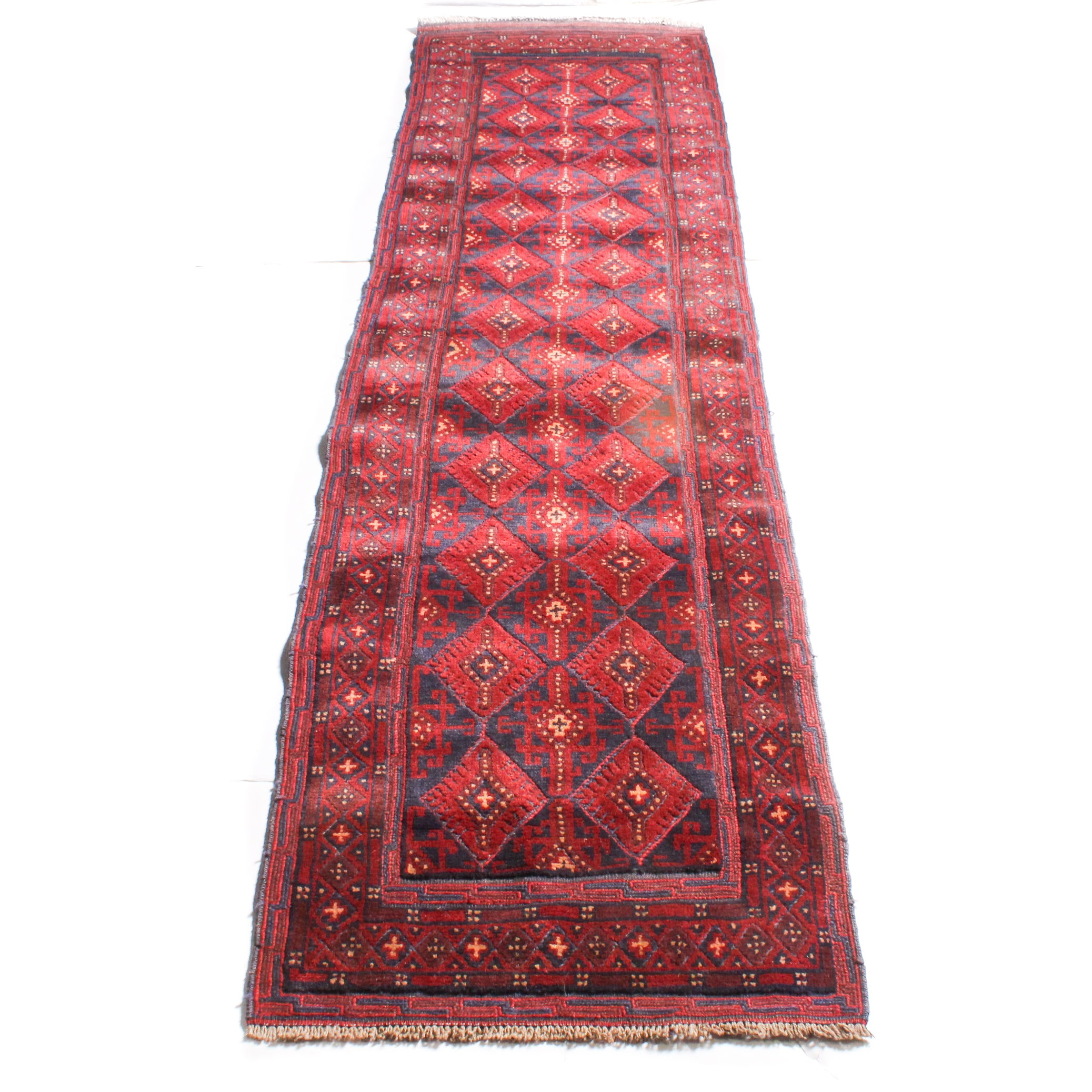 2'2 x 8'9 Hand-Knotted Afghan Baluch Carpet Runner