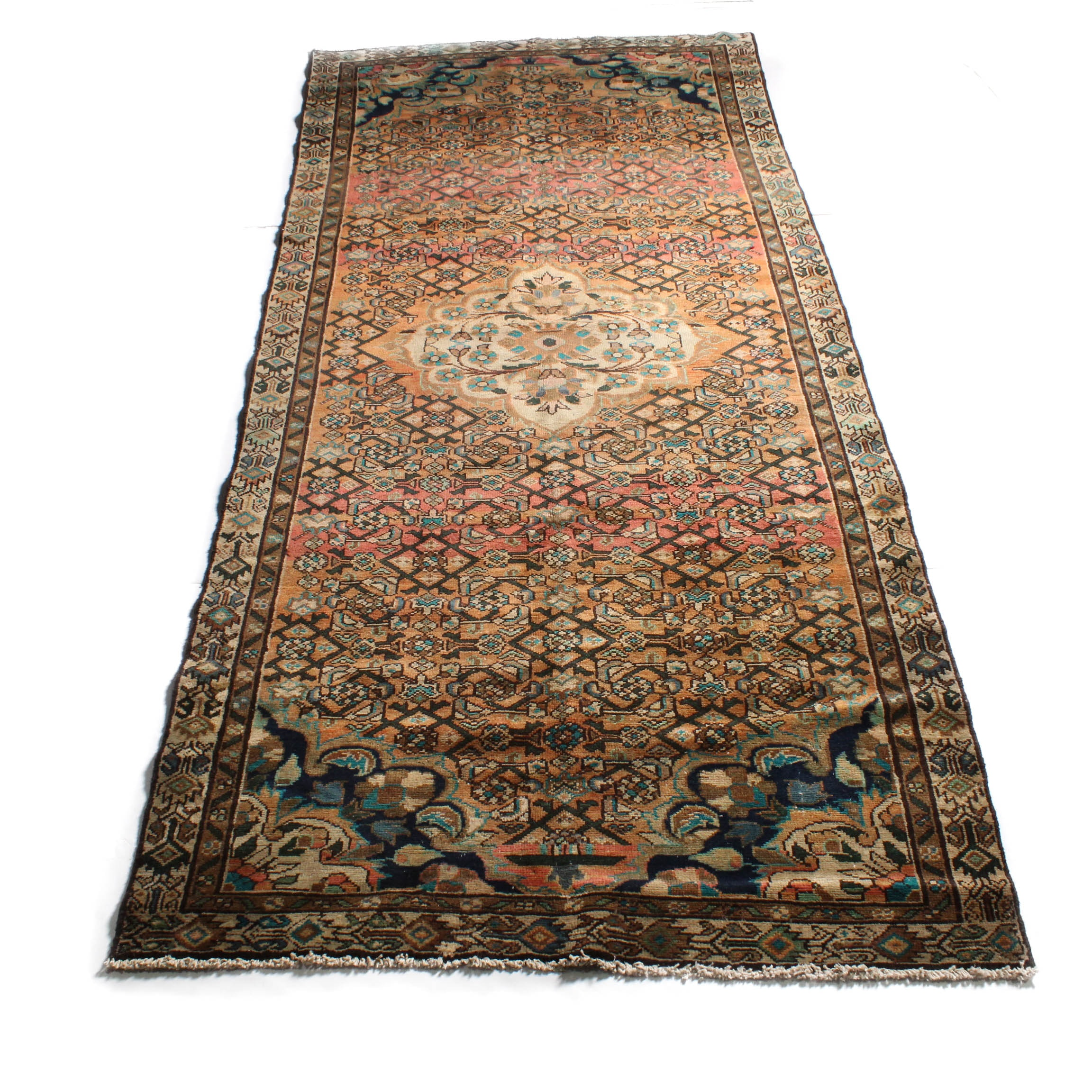4'5 x 10'1 Hand-Knotted Persian Malayer Sarouk Long Rug