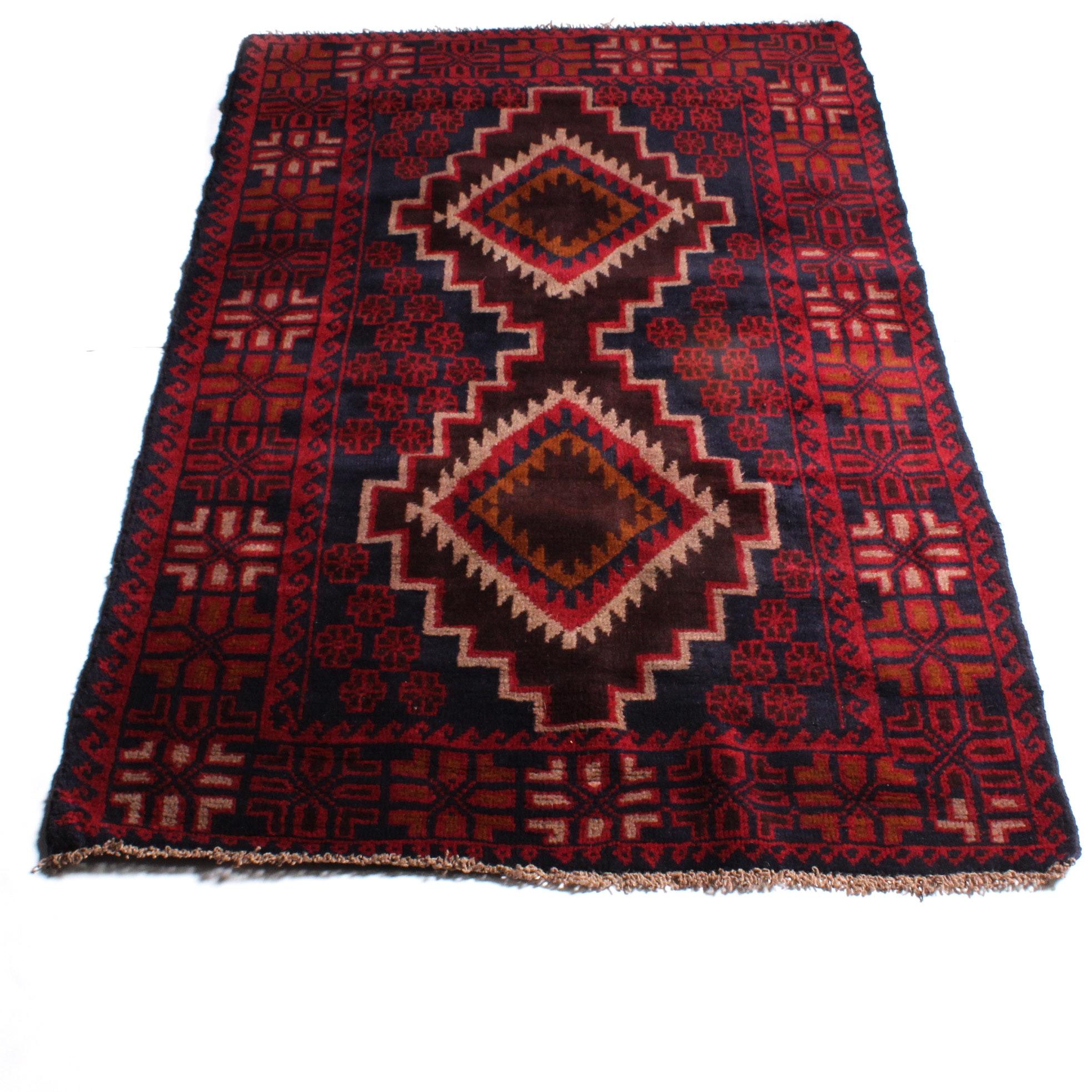3'8 x 5'11 Hand-Knotted Afghan Kazak Rug
