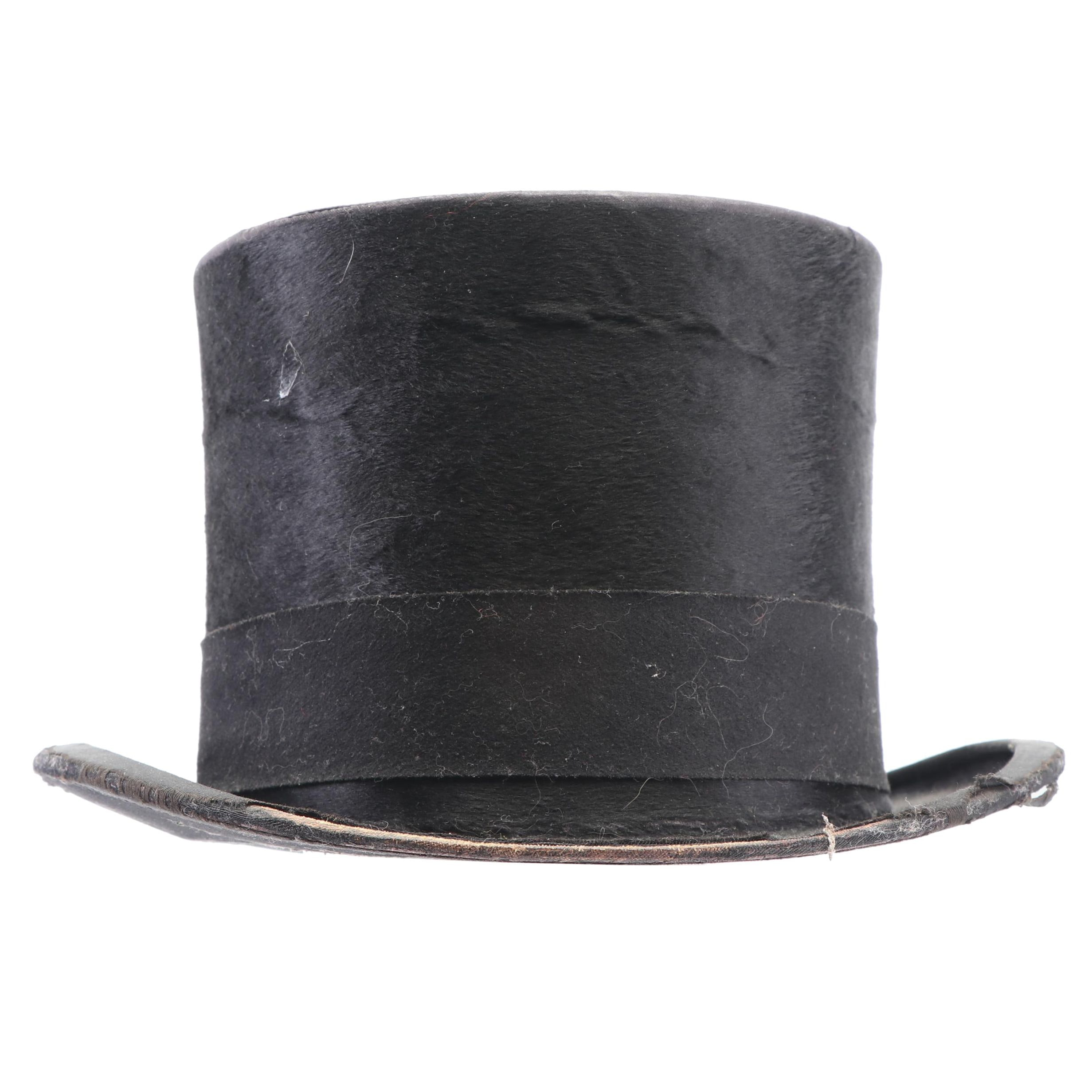 Men's Delion Silk Plush Top Hat, Early 20th Century