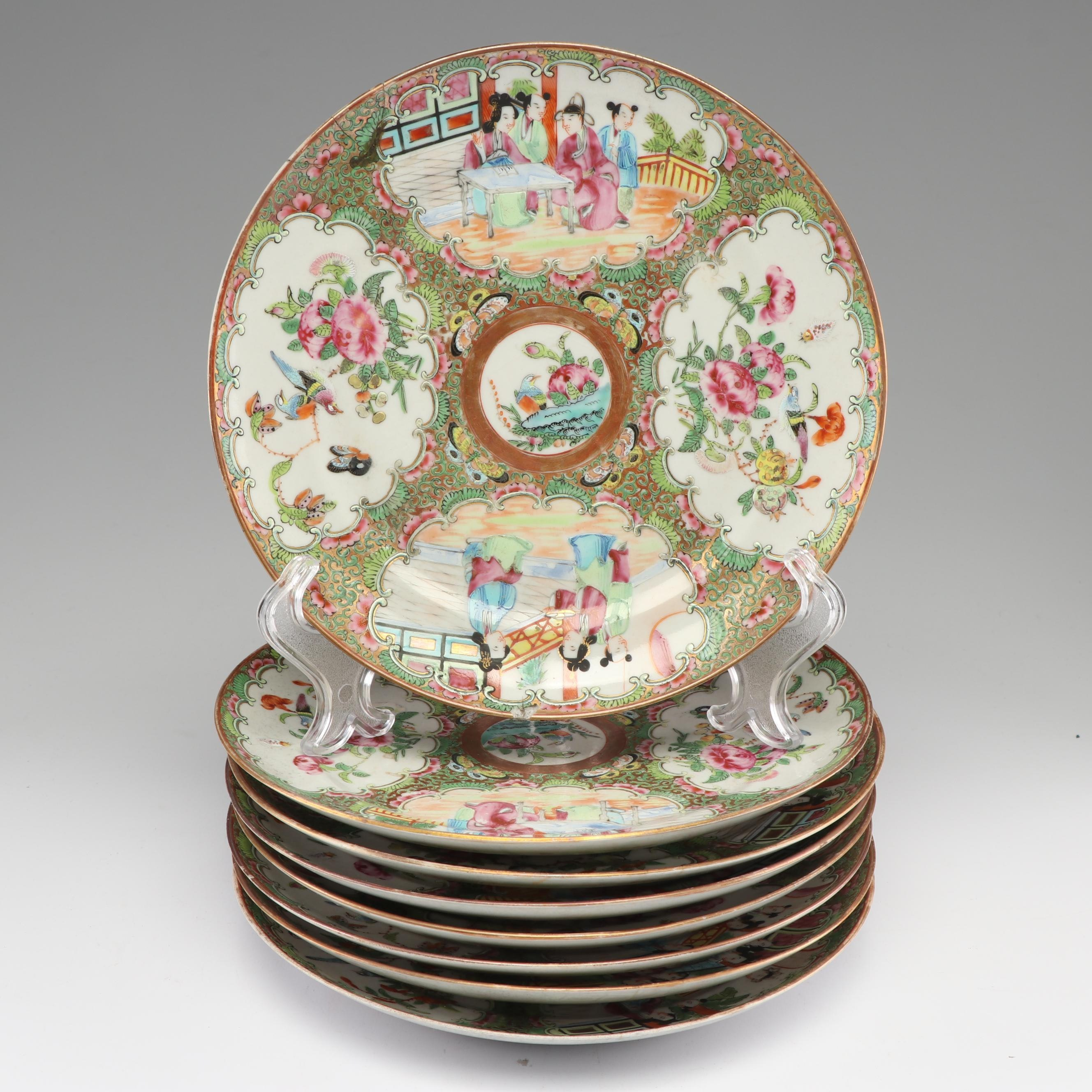 """Chinese Hand-Painted """"Rose Medallion"""" Porcelain Plates, Qing Dynasty"""