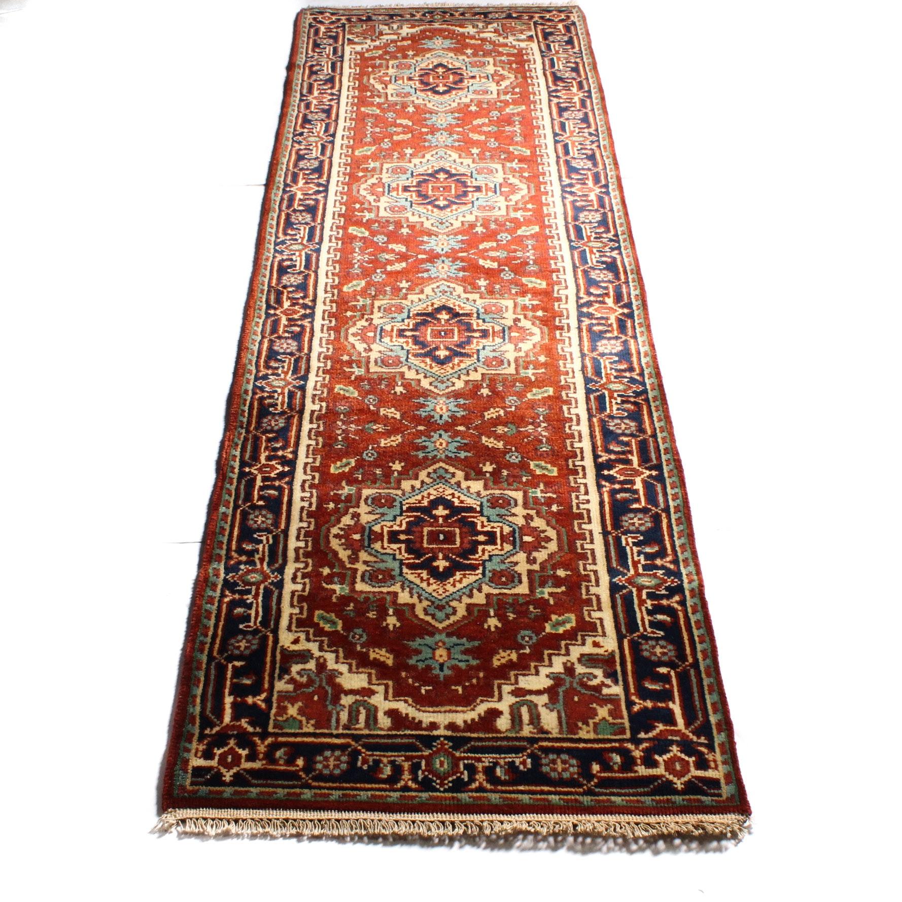 2'7 x 9'6 Hand-Knotted Indo-Persian Heriz Serapi Carpet Runner