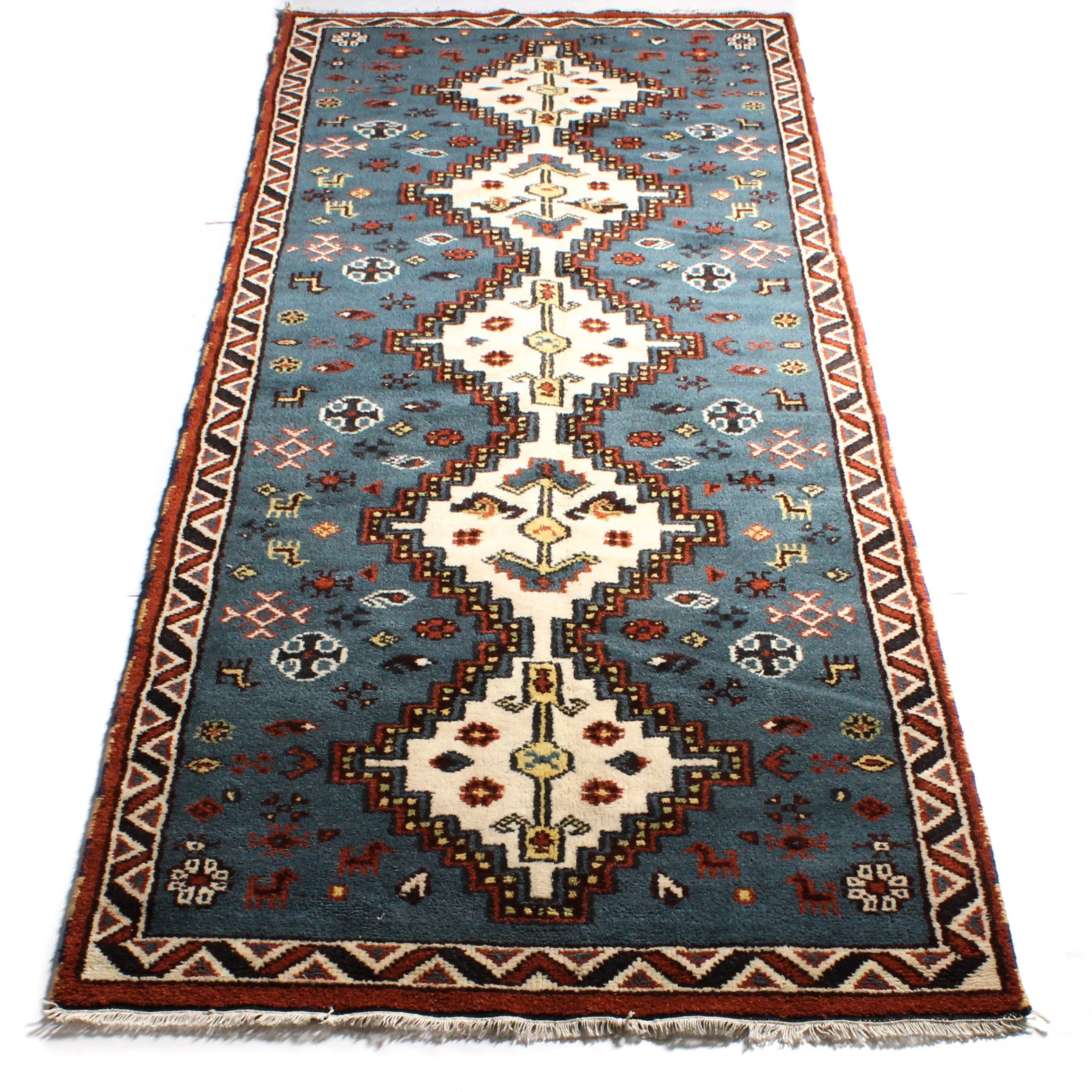 4'1 x 10'4 Hand-Knotted Indo-Caucasian Kazak Long Rug