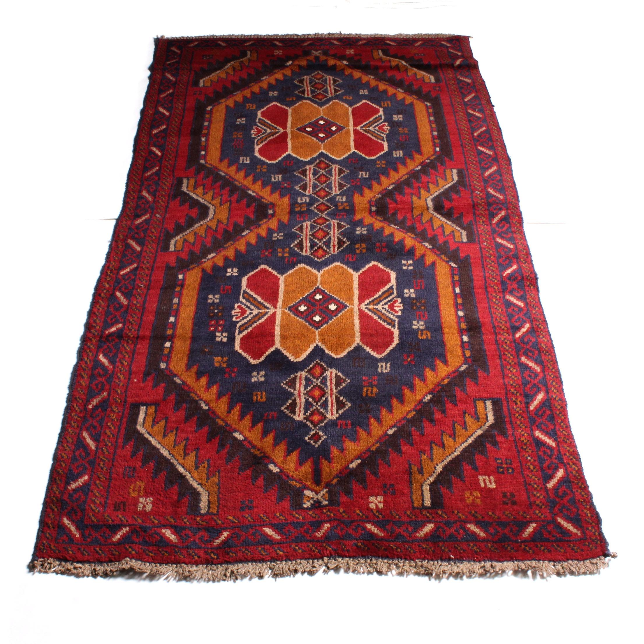 3'5 x 6'7 Hand-Knotted Afghan Kazak Rug