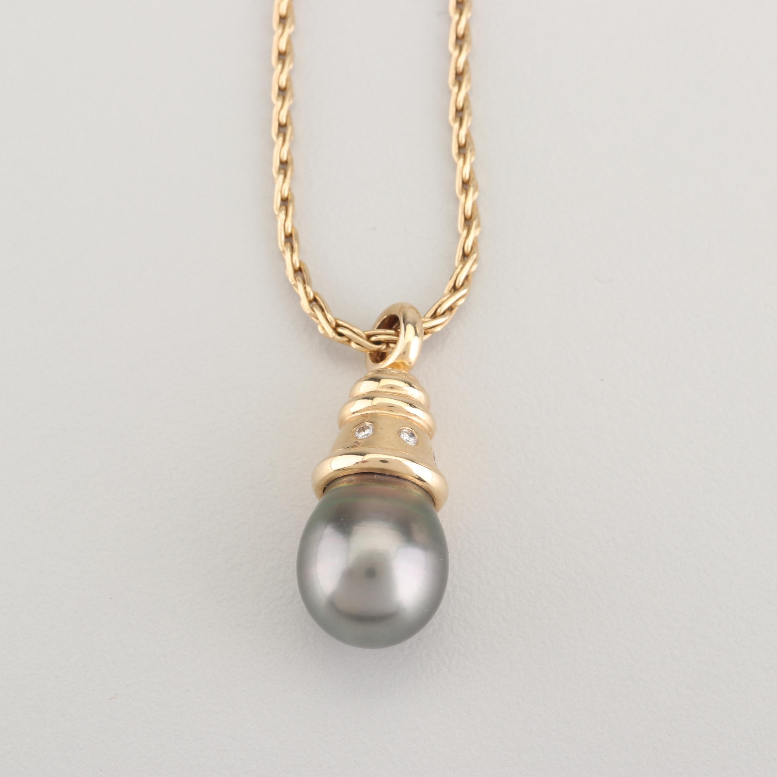 14K Yellow Gold Cultured Black Pearl and Diamond Pendant Necklace