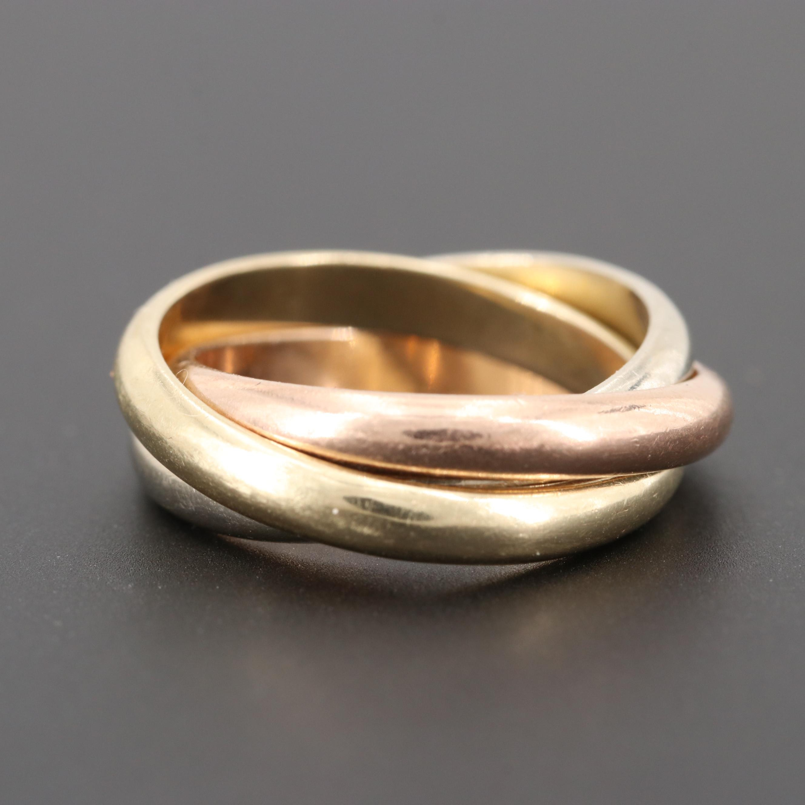 14K Tri-Color Gold Rolling Ring