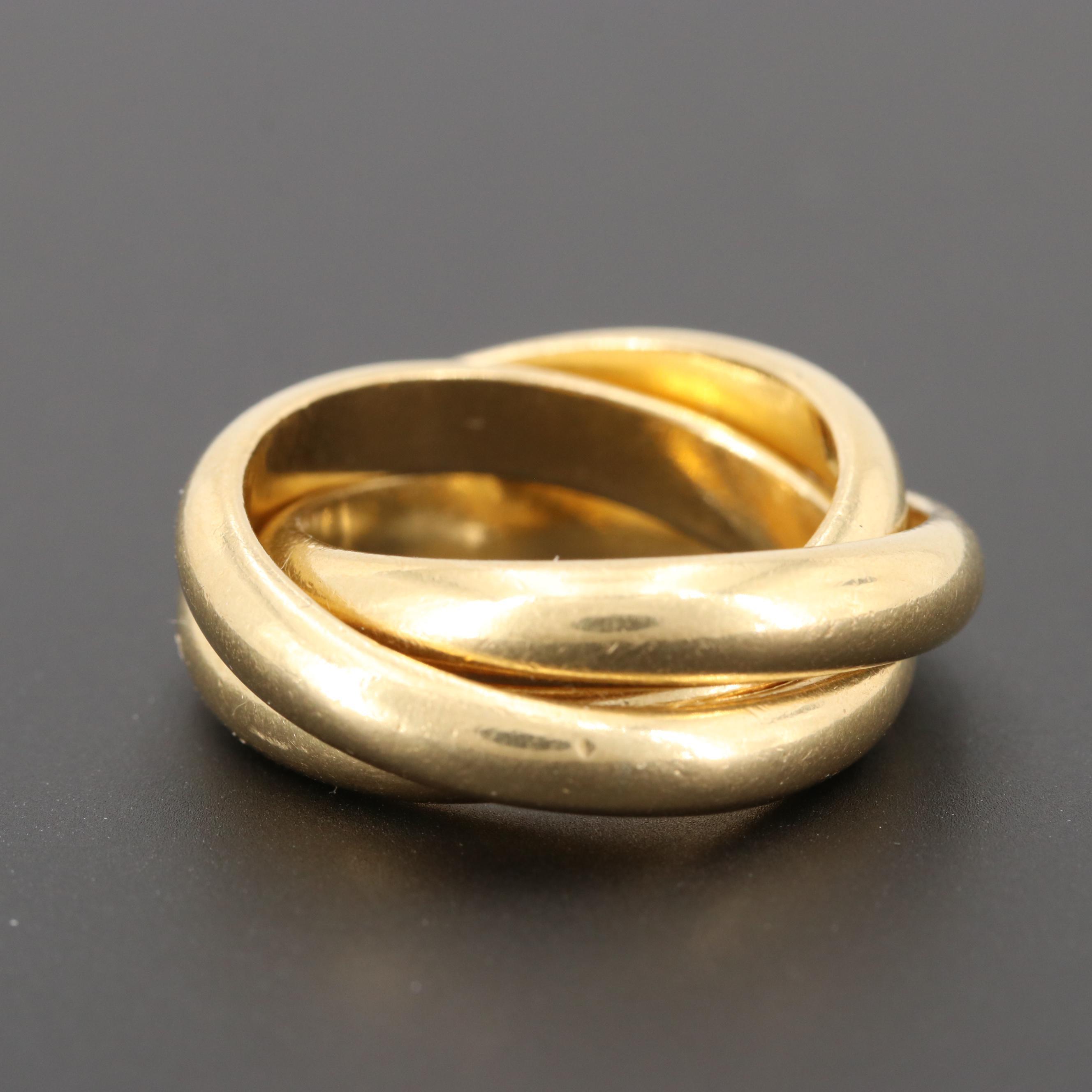 Italian 18K Yellow Gold Rolling Ring